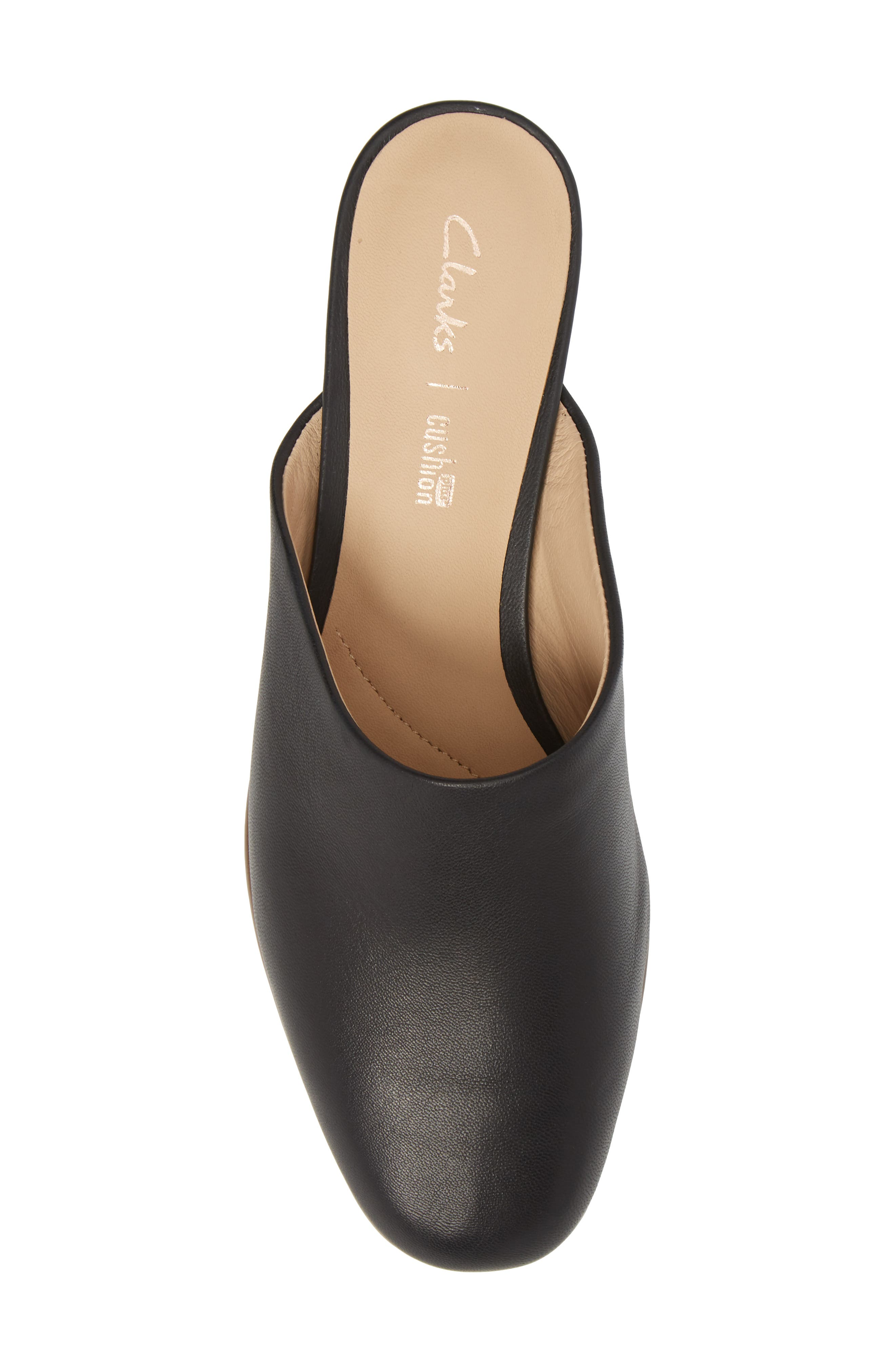 CLARKS<SUP>®</SUP>, Pure Blush Mule, Alternate thumbnail 5, color, BLACK LEATHER