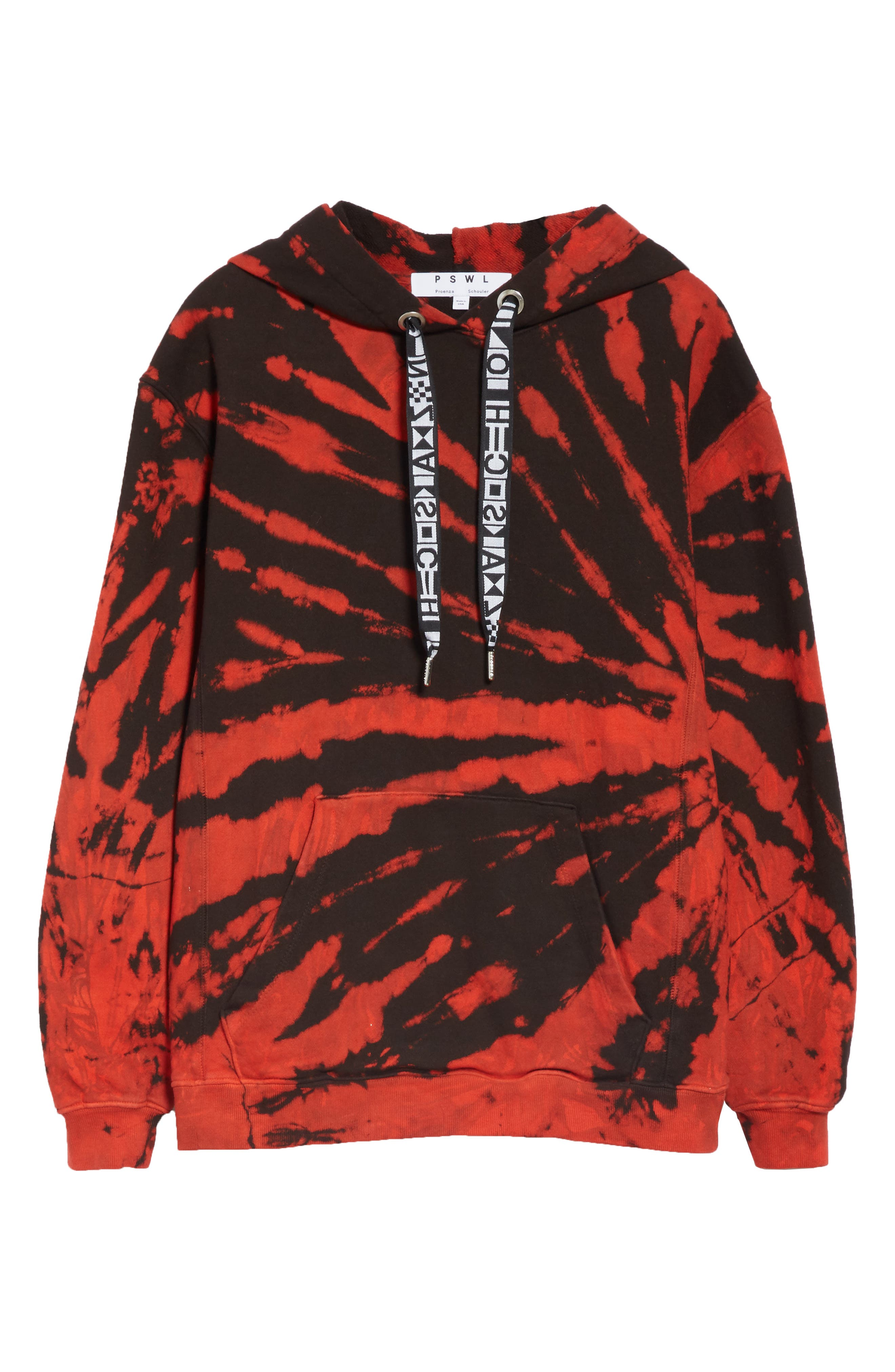PROENZA SCHOULER, PSWL Tie Dye Hoodie, Alternate thumbnail 6, color, RED/ BLACK