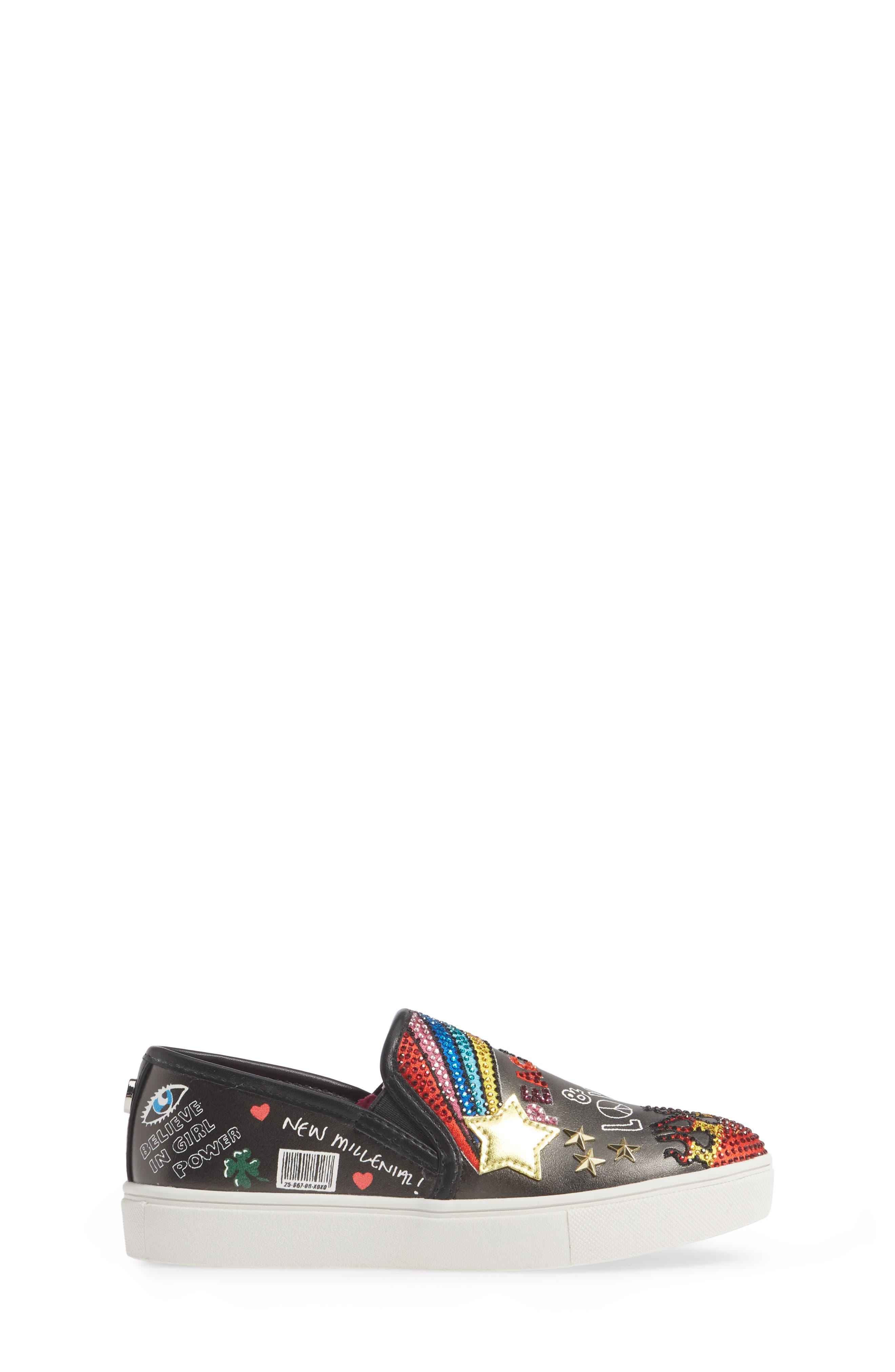STEVE MADDEN, JPOWRFUL Embellished Slip-On Sneaker, Alternate thumbnail 3, color, BLACK MULTI