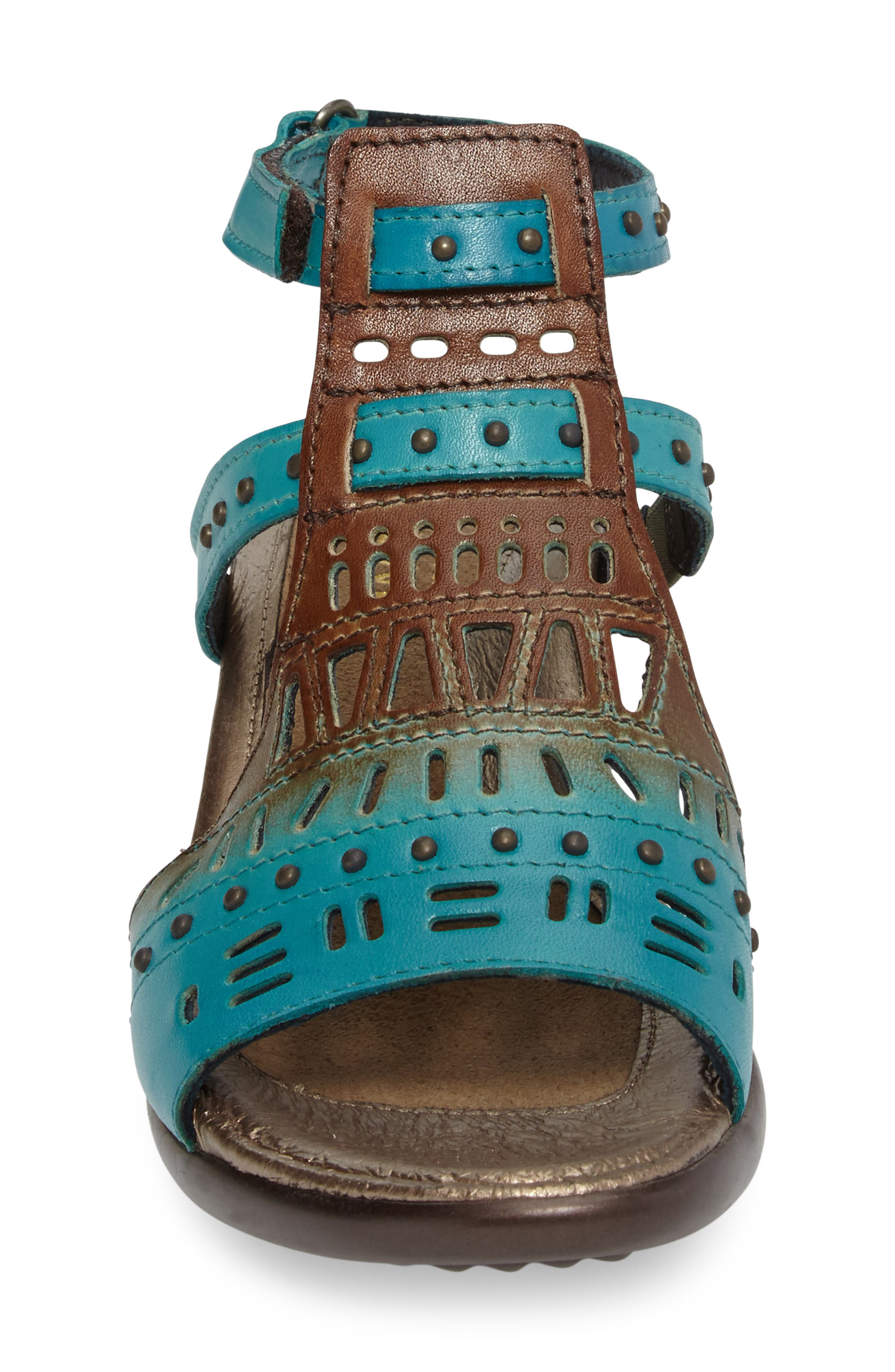 NAOT, 'Vogue' Sandal, Alternate thumbnail 4, color, TEAL BROWN LEATHER