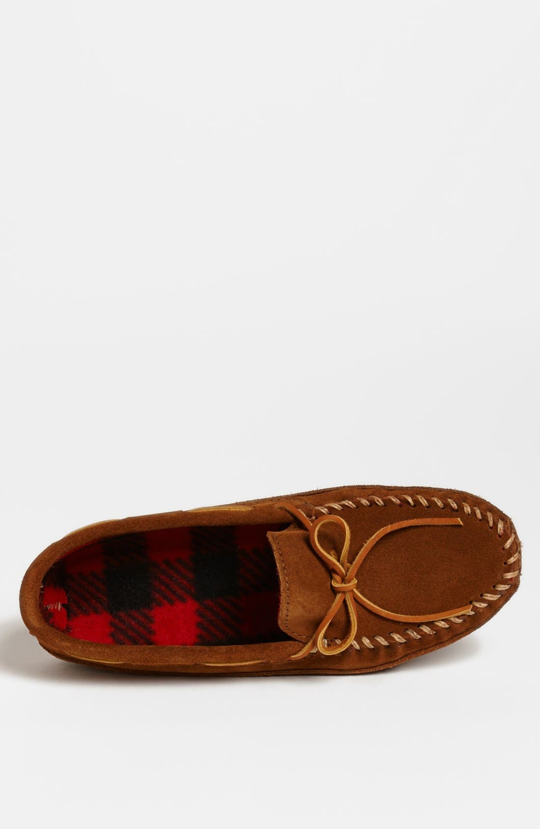 MINNETONKA, Suede Moccasin, Alternate thumbnail 3, color, BROWN SUEDE