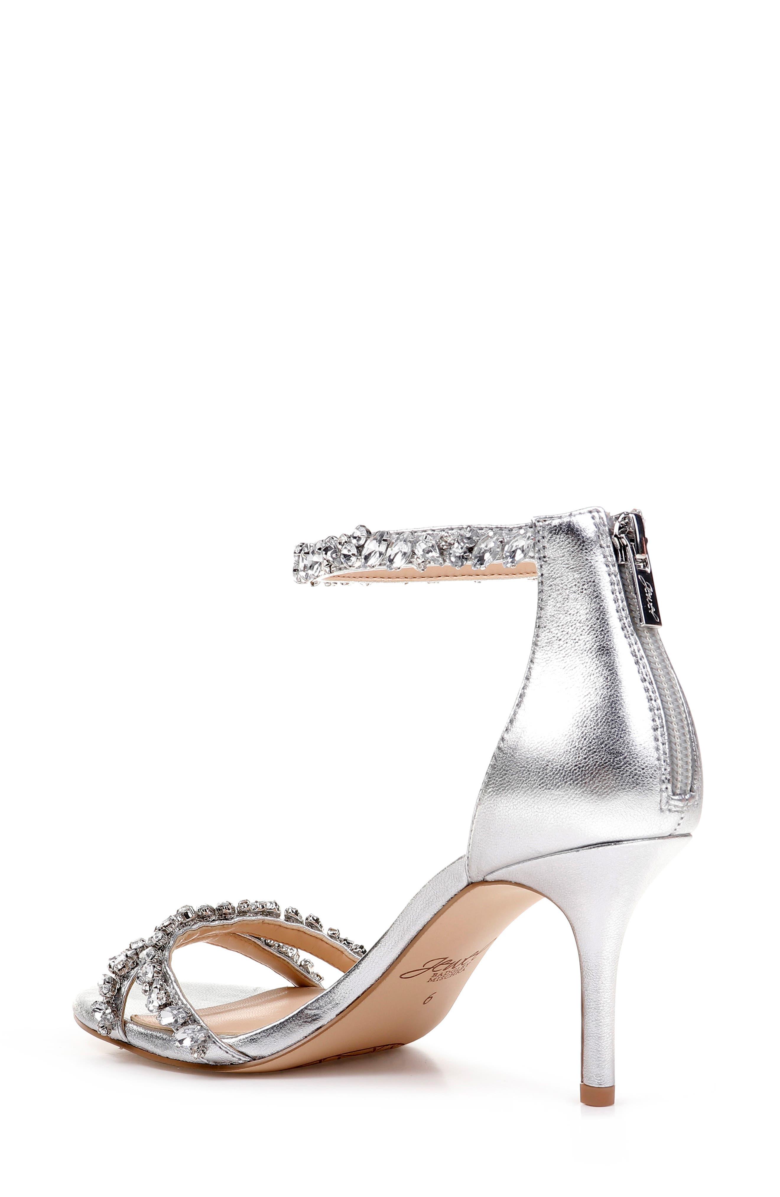 JEWEL BADGLEY MISCHKA, Darlene Embellished Ankle Strap Sandal, Alternate thumbnail 2, color, SILVER LEATHER