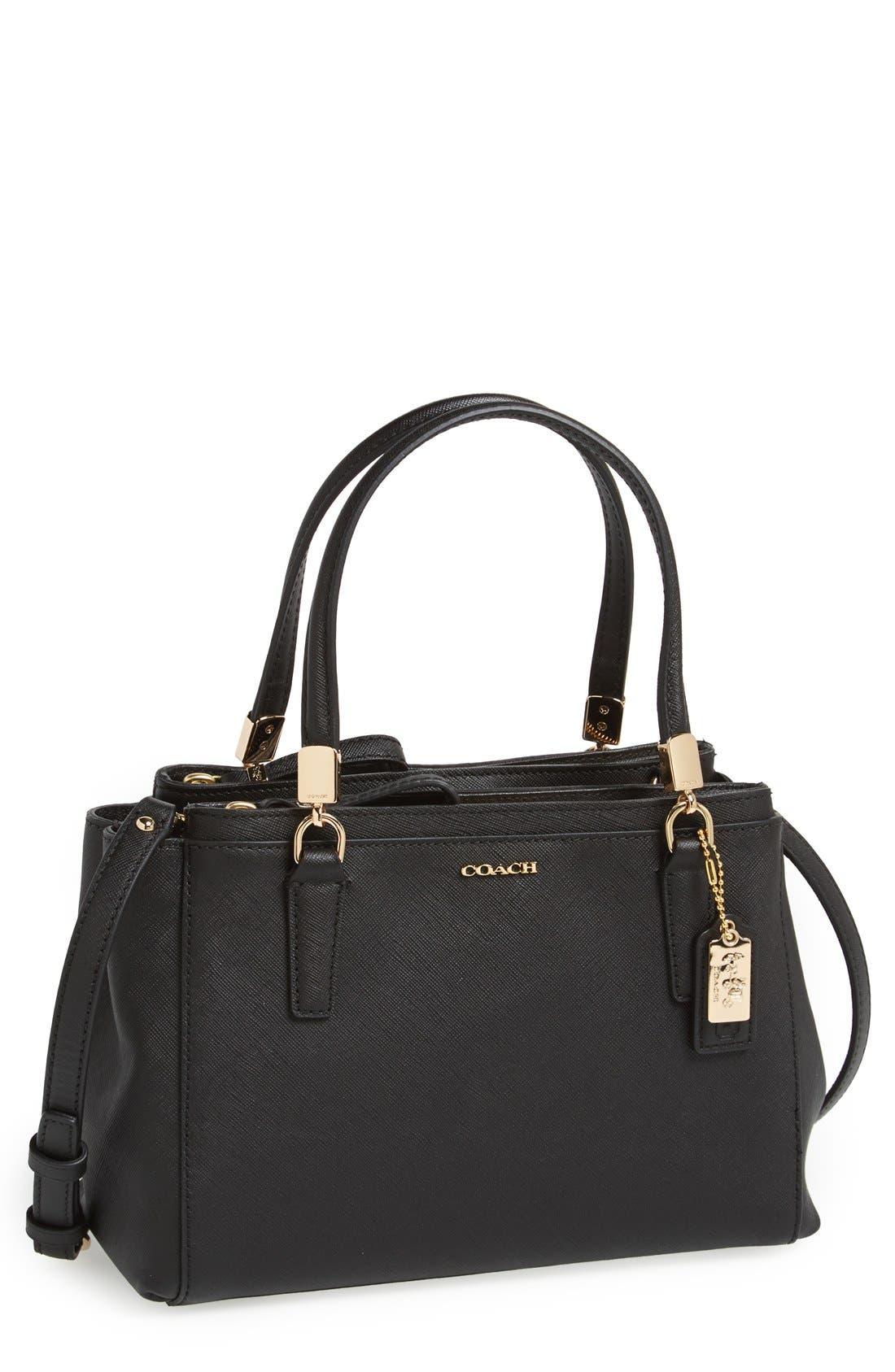 COACH, 'Madison - Mini Christie' Saffiano Leather Satchel, Main thumbnail 1, color, 001
