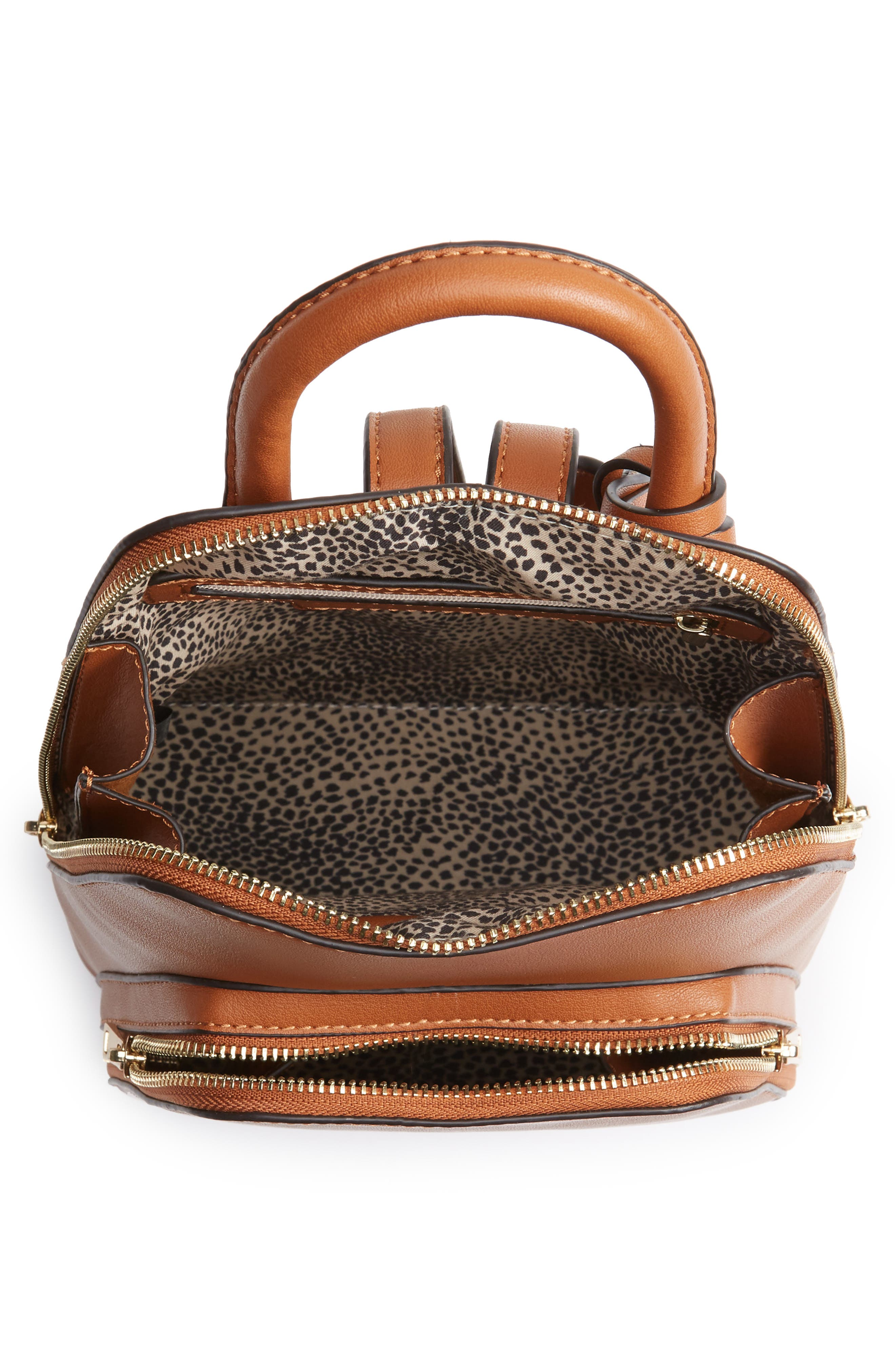 SOLE SOCIETY, Aushan Faux Leather Backpack, Alternate thumbnail 5, color, COGNAC