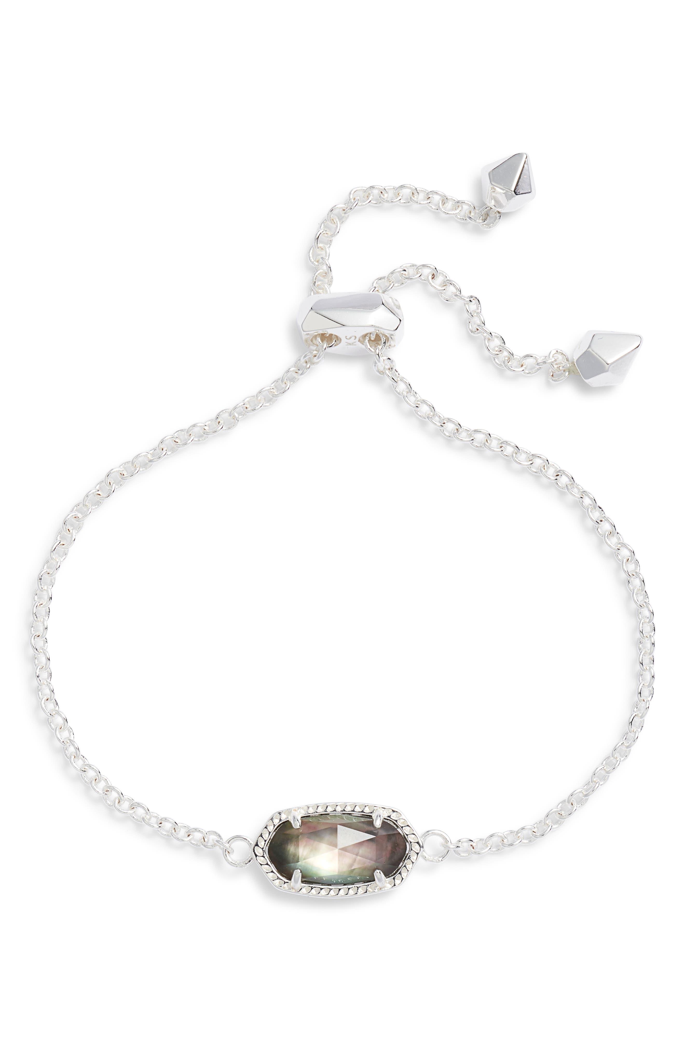 KENDRA SCOTT Elaina Bracelet, Main, color, BRIGHT SILVER/ BLACK MOP