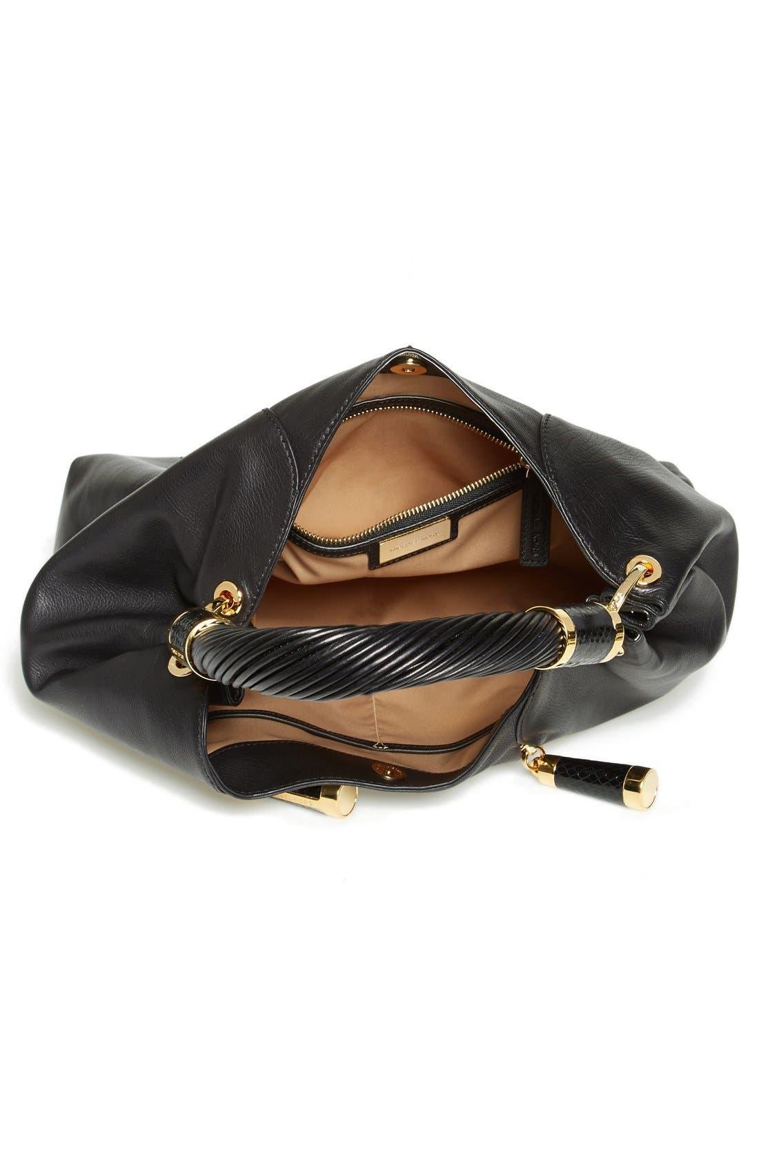 MICHAEL KORS, 'Tonne' Leather Hobo, Alternate thumbnail 4, color, 001