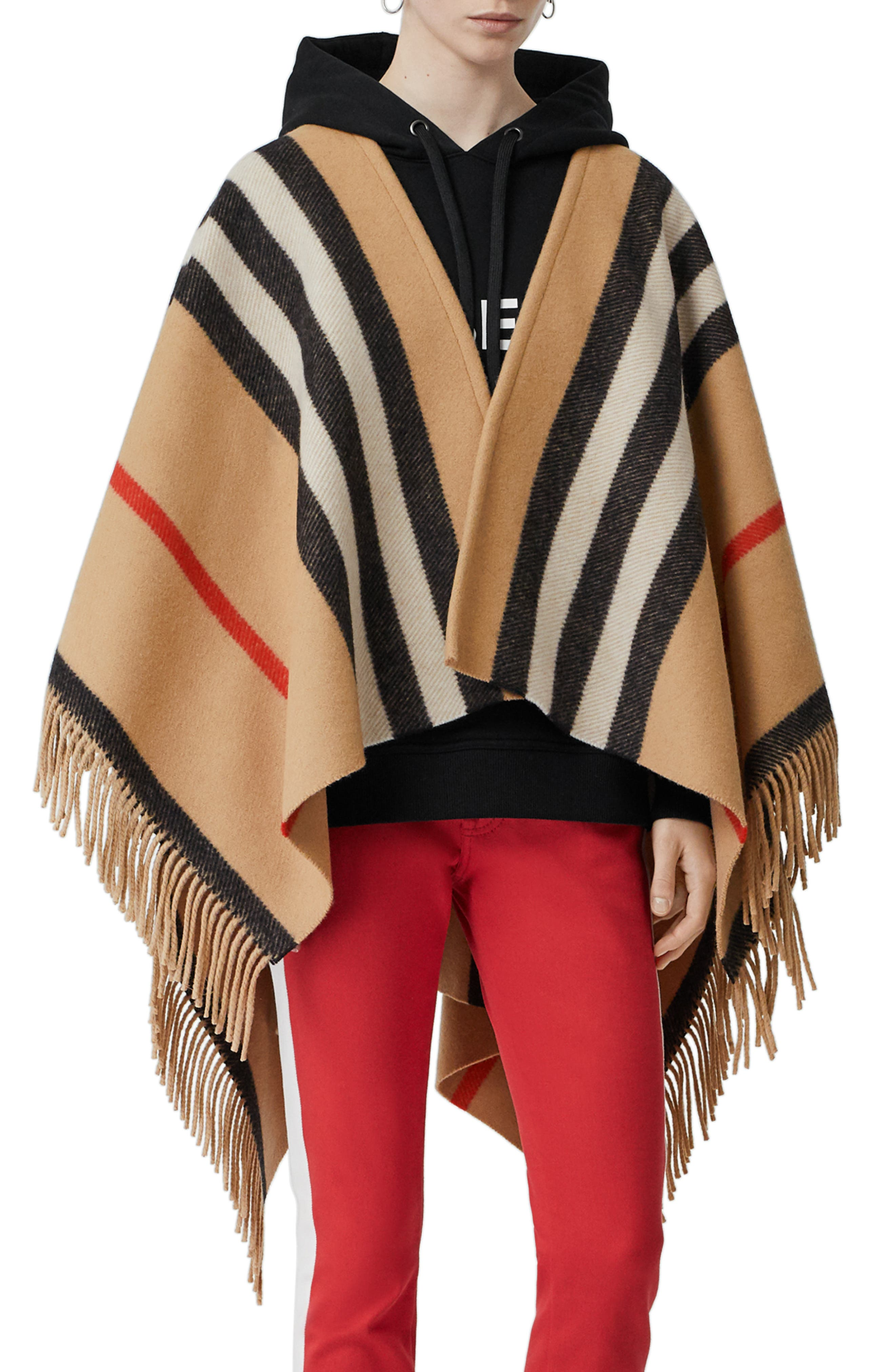 BURBERRY, Stripe Fringe Wool Cape, Main thumbnail 1, color, CAMEL