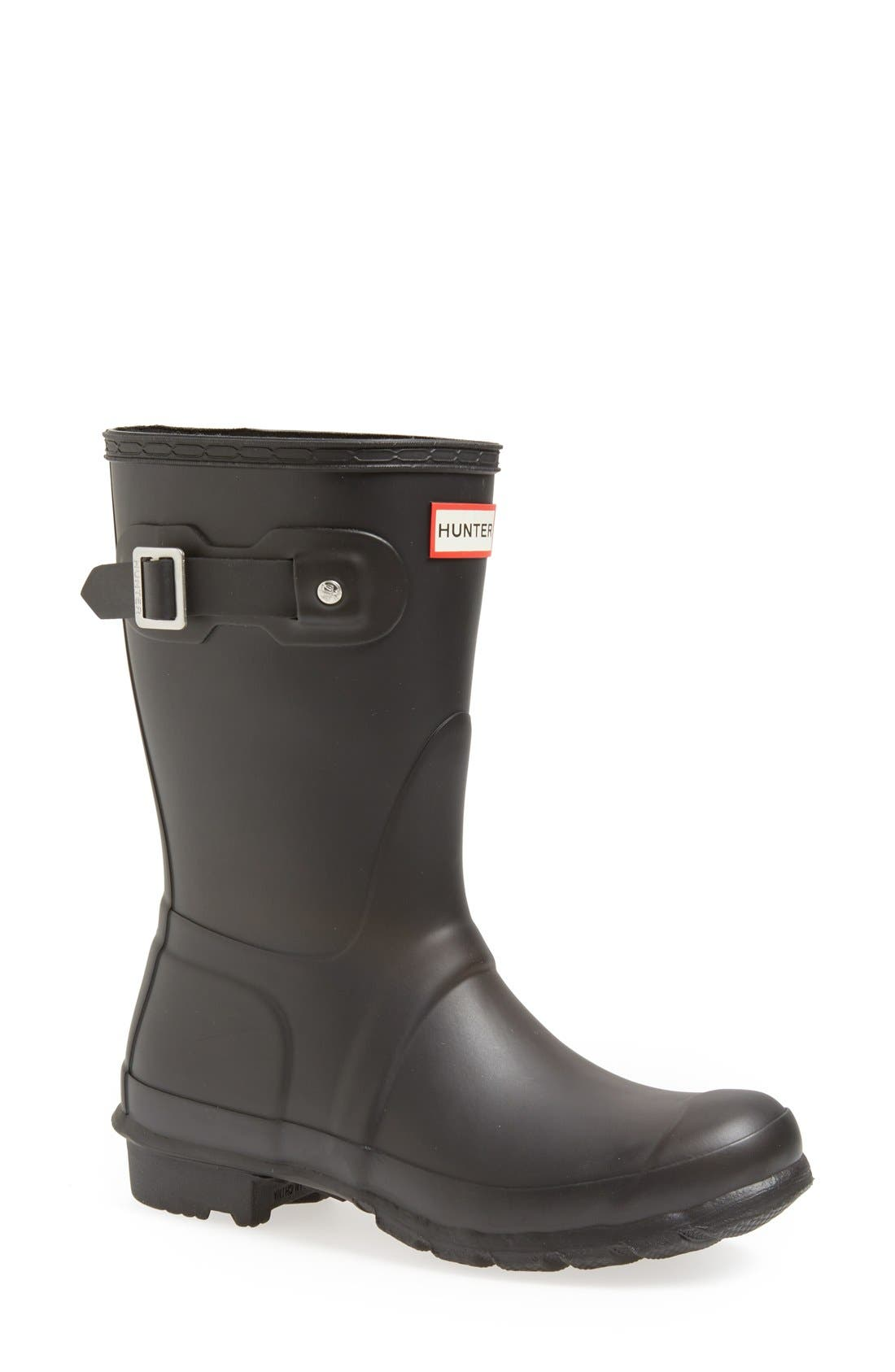 HUNTER, Original Short Waterproof Rain Boot, Main thumbnail 1, color, BLACK MATTE