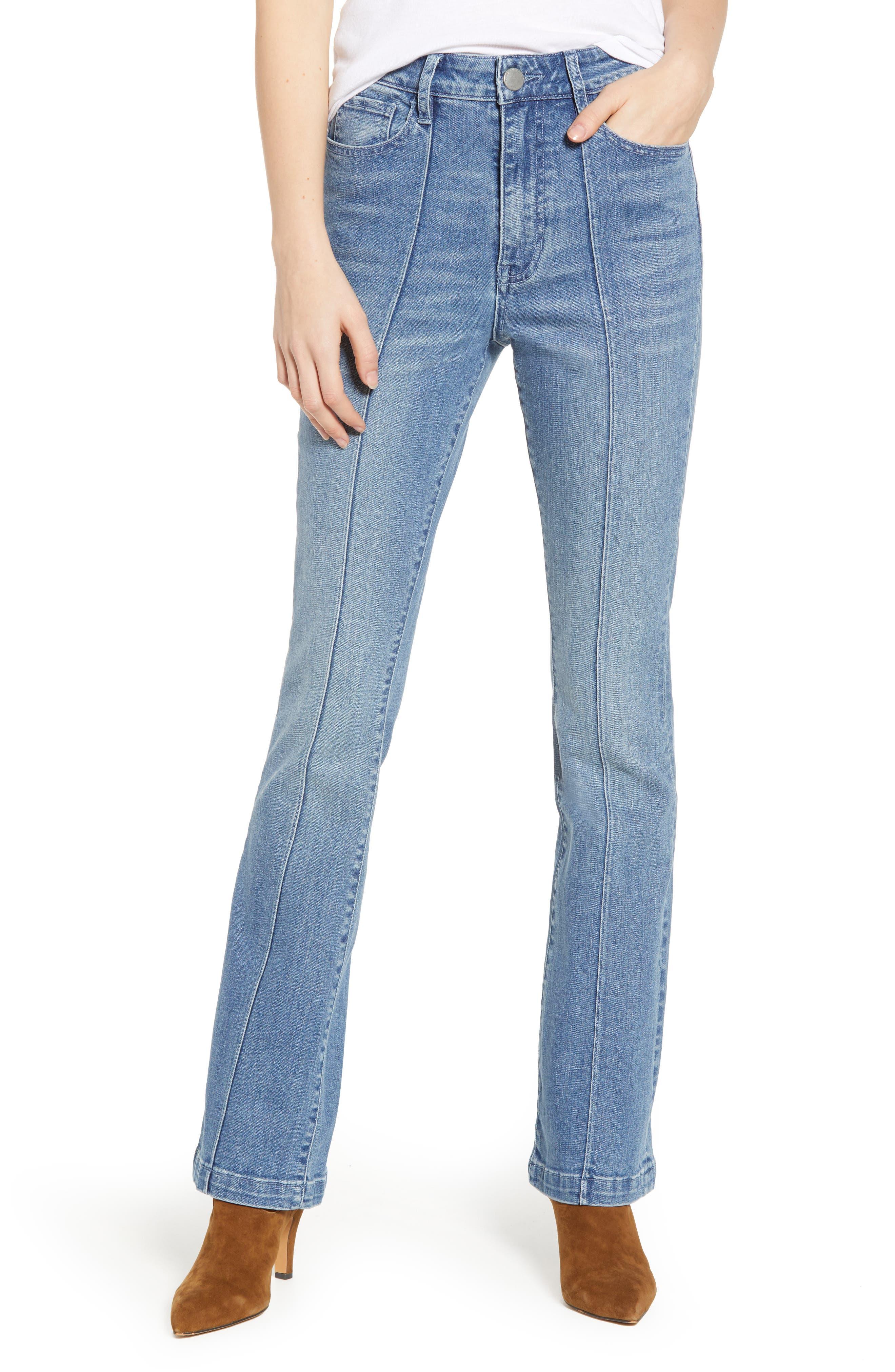 PROSPERITY DENIM, Pintuck Flare Jeans, Main thumbnail 1, color, KARLA WASH