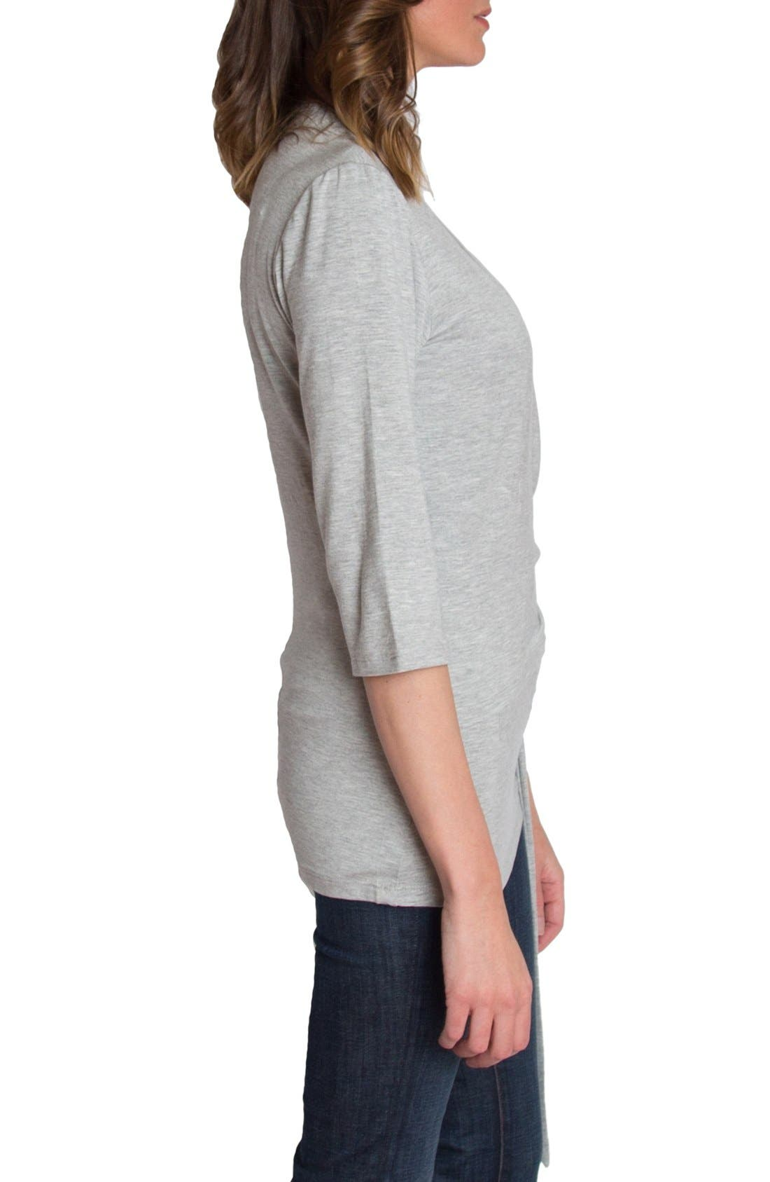 UDDERLY HOT MAMA, Whimsical Nursing Wrap Top, Alternate thumbnail 3, color, HEATHER GRAY
