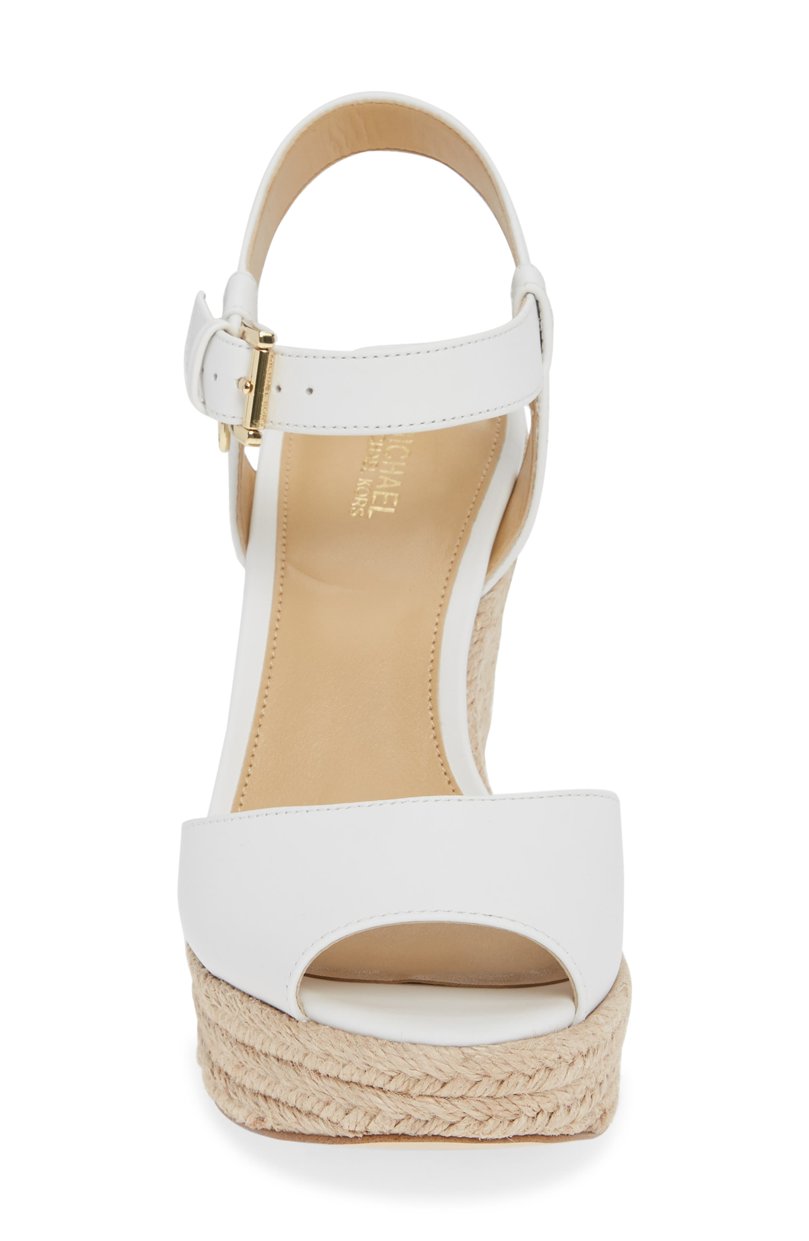 MICHAEL MICHAEL KORS, Carlyn Espadrille Wedge Sandal, Alternate thumbnail 4, color, 100