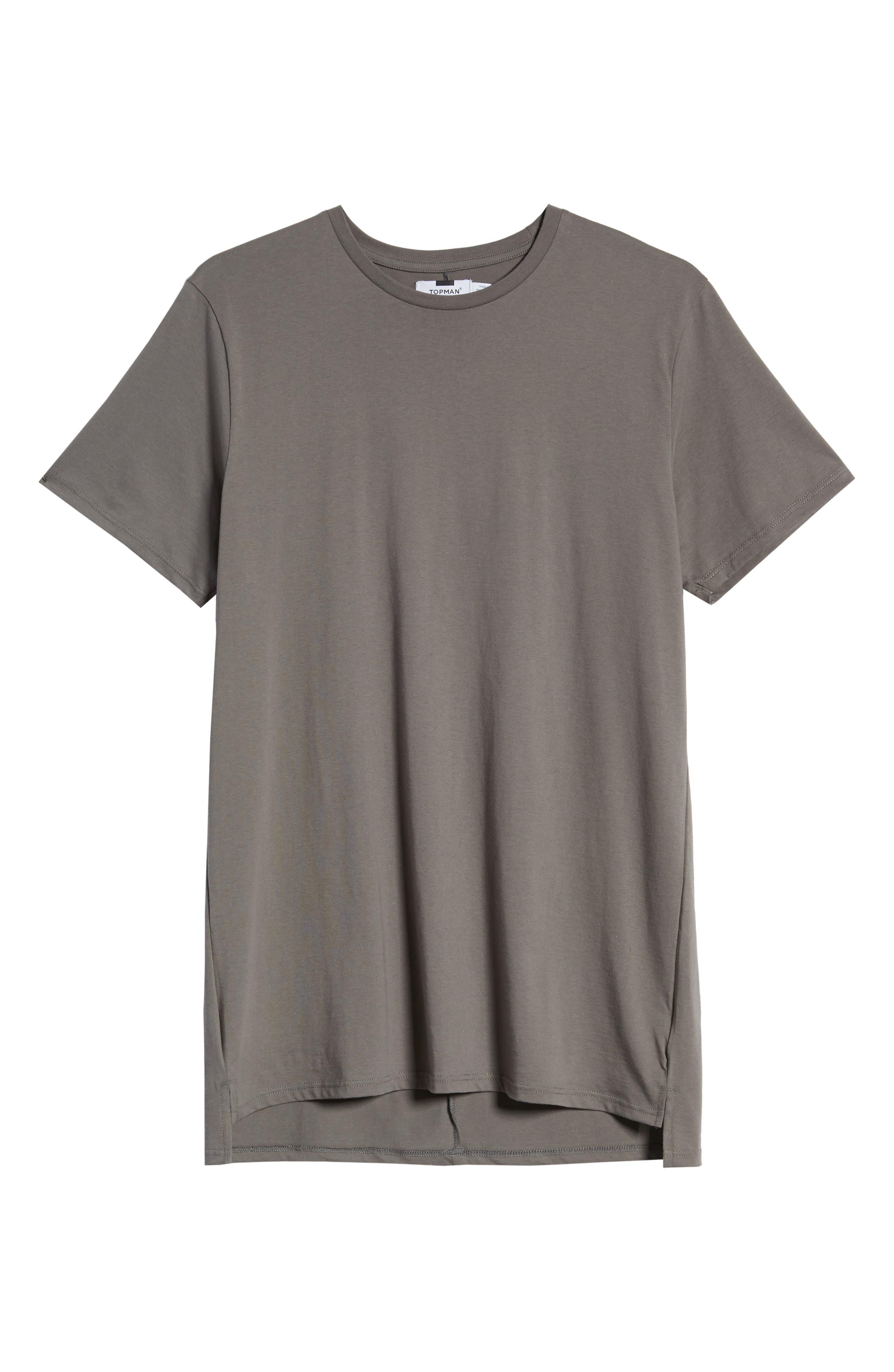 TOPMAN, Longline T-Shirt, Alternate thumbnail 6, color, GREY