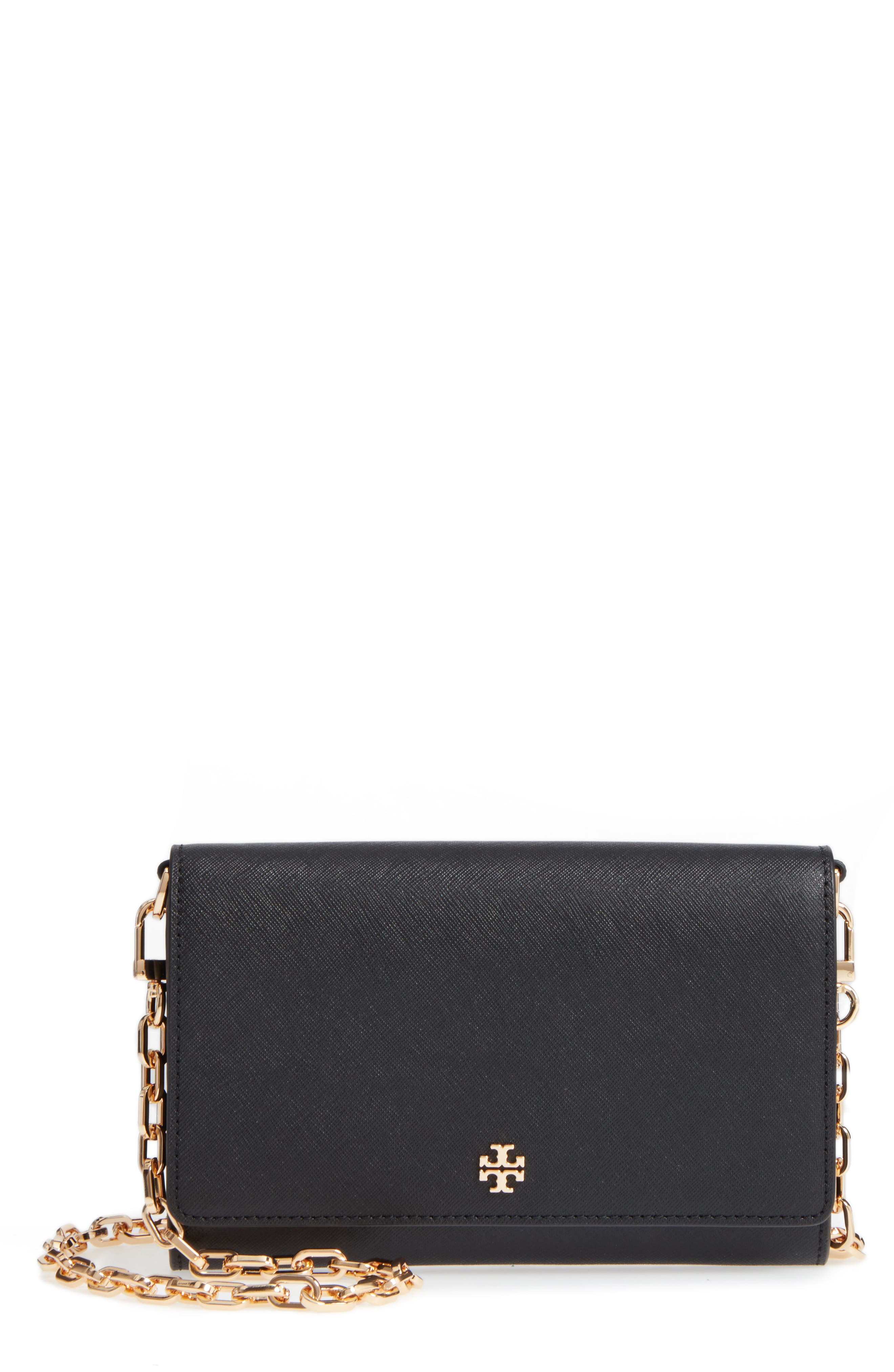 TORY BURCH, 'Robinson' Leather Wallet on a Chain, Main thumbnail 1, color, 001
