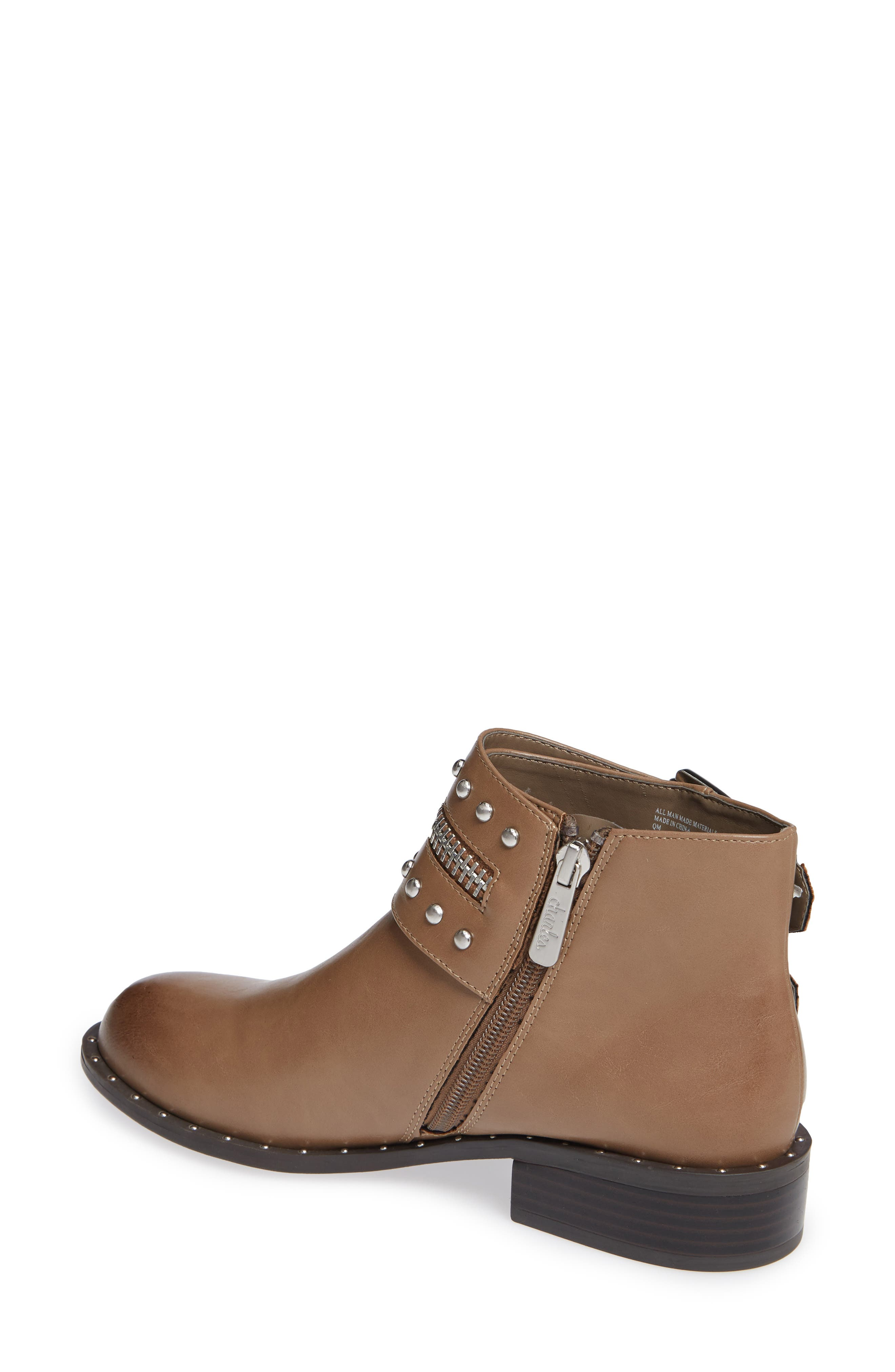 CHARLES BY CHARLES DAVID, Thief Studded Bootie, Alternate thumbnail 2, color, TAUPE SYNTHETIC