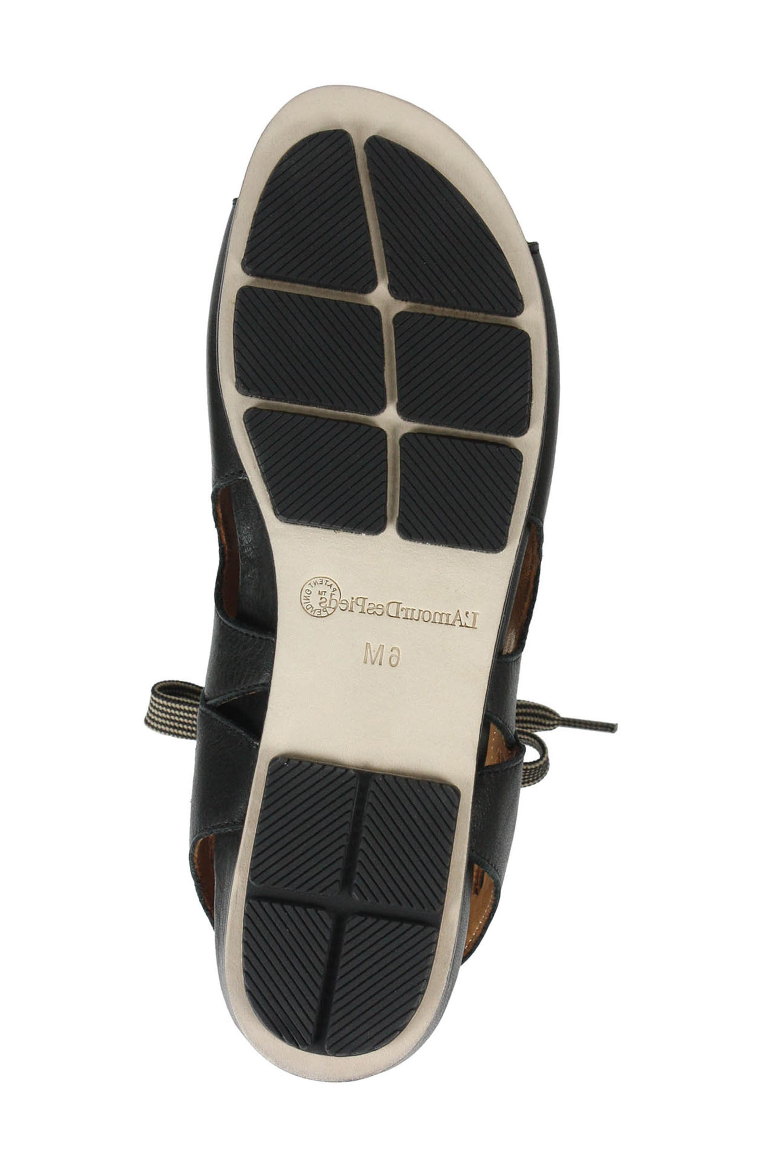 L'AMOUR DES PIEDS, Dionisa Sandal, Alternate thumbnail 6, color, BLACK LEATHER