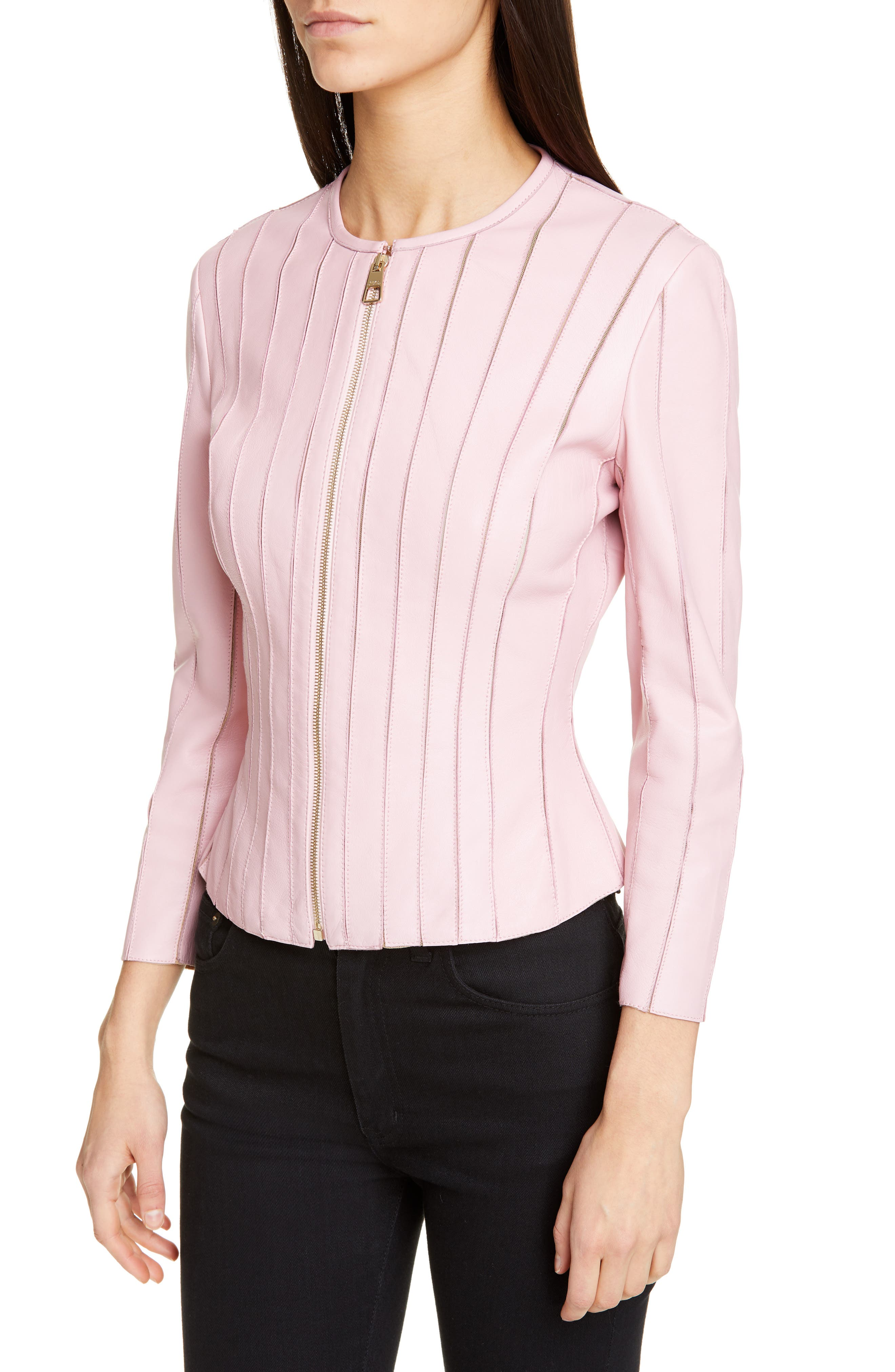 VERSACE COLLECTION, Mesh Rib Leather Jacket, Alternate thumbnail 4, color, PASTEL ROSE