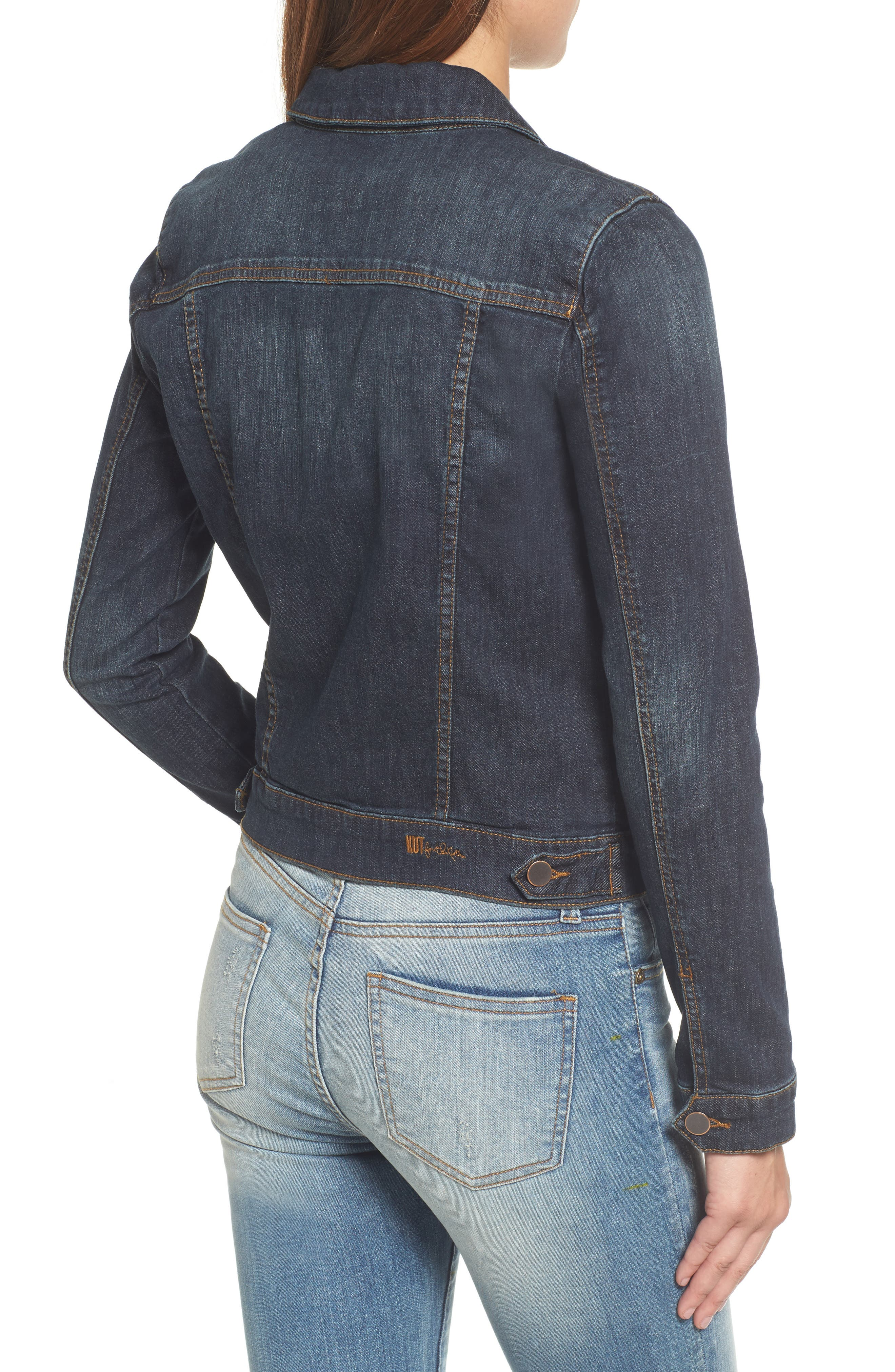 KUT FROM THE KLOTH, 'Helena' Denim Jacket, Alternate thumbnail 2, color, GRATITUDE
