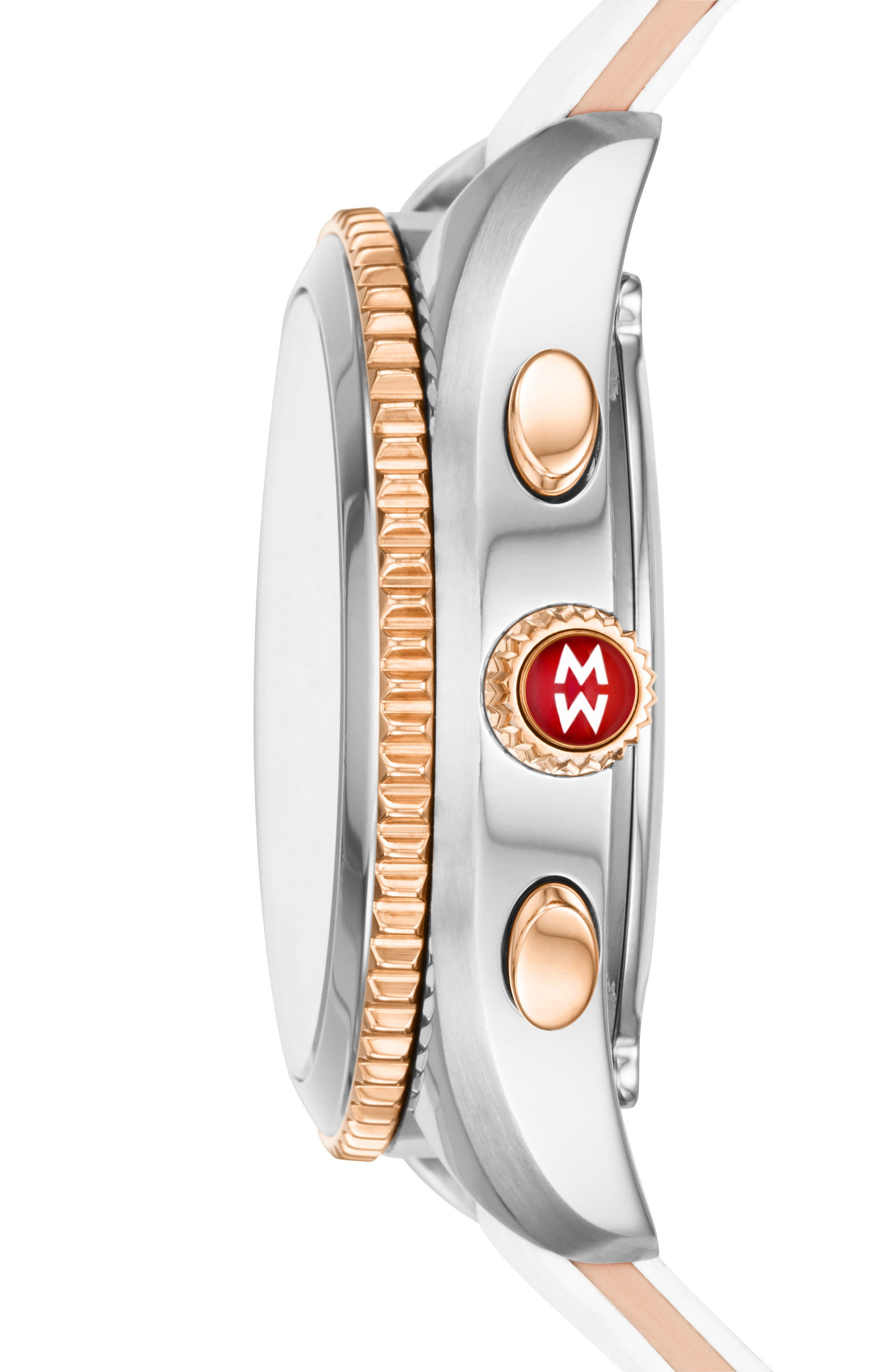 MICHELE, Hybrid Tracker Smart Watch, 38mm, Alternate thumbnail 3, color, WHITE/ SILVER/ ROSE GOLD