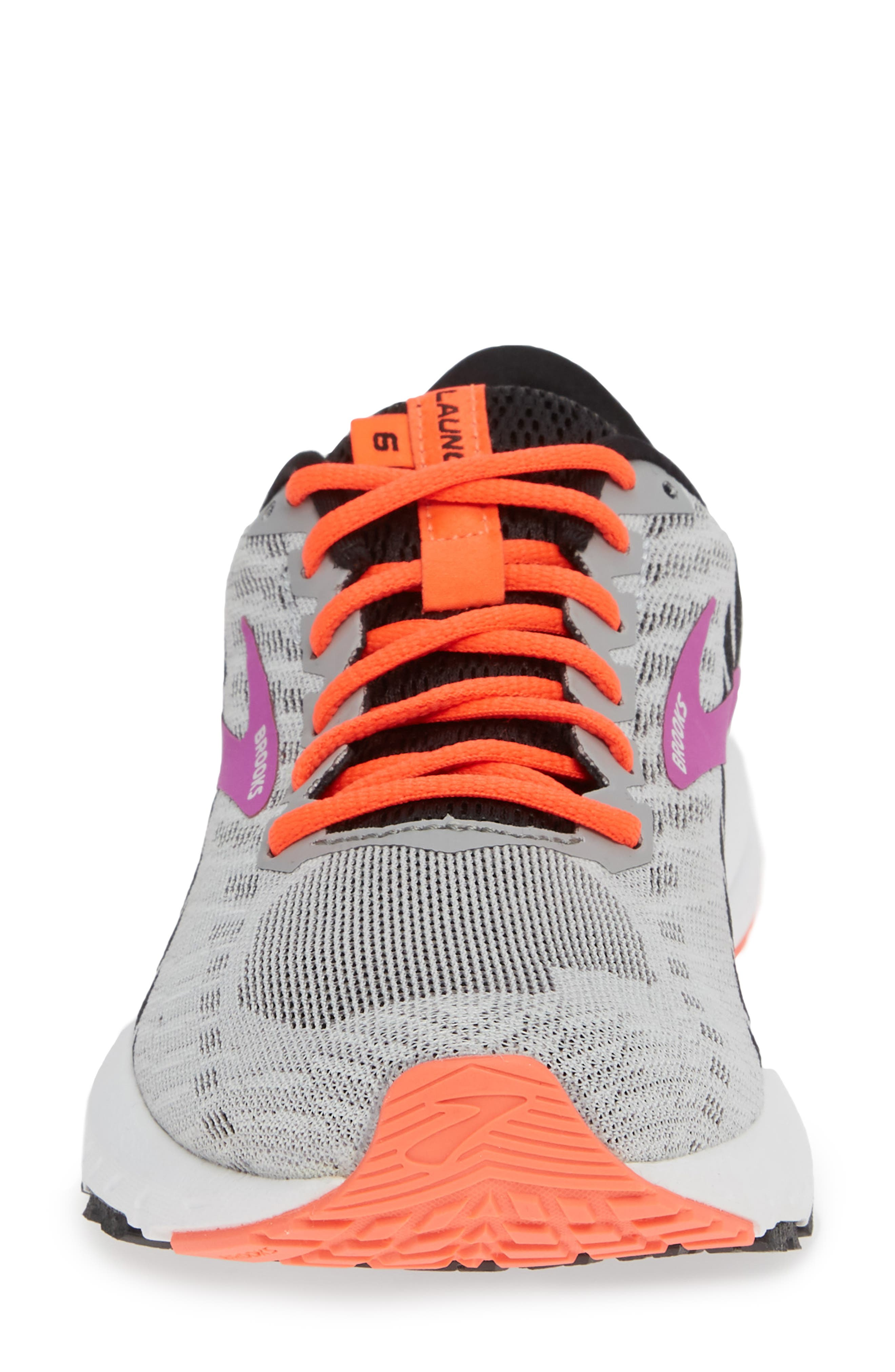 BROOKS, Launch 6 Running Shoe, Alternate thumbnail 4, color, GREY/ BLACK/ PURPLE