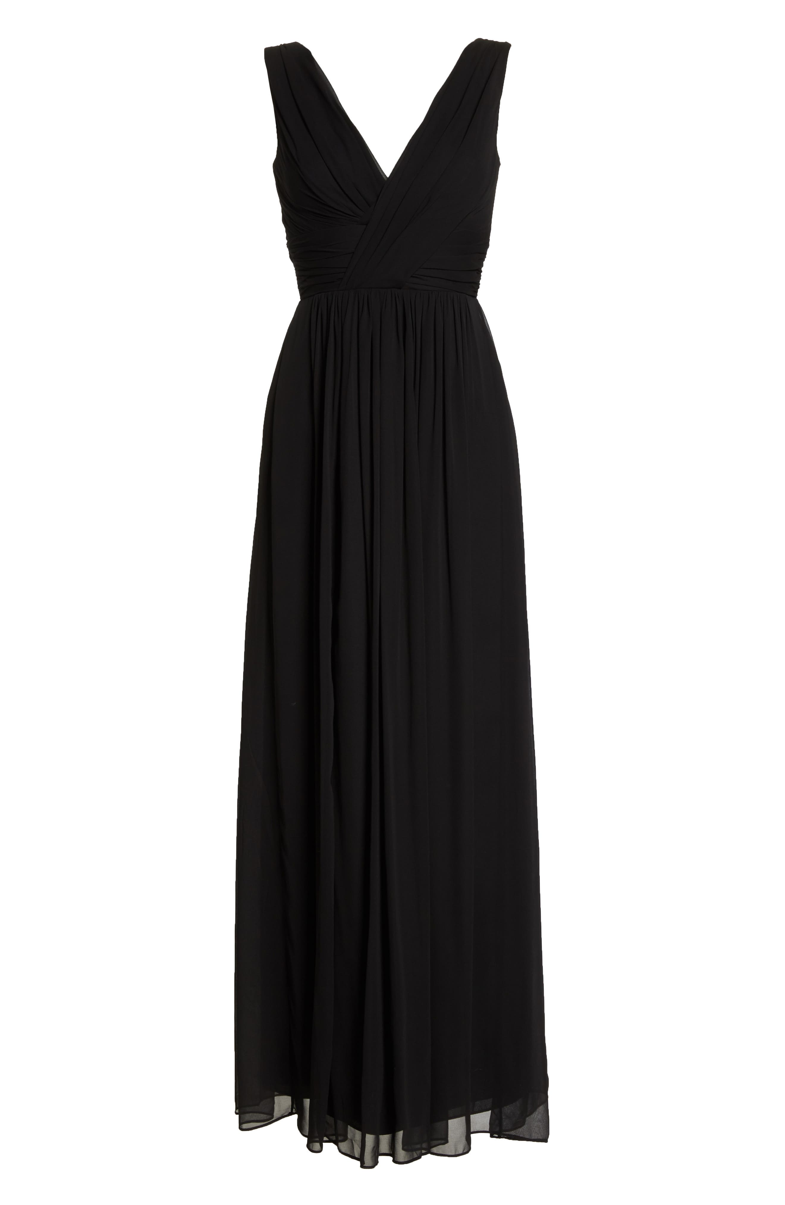 DESSY COLLECTION, Lux V-Neck Chiffon Gown, Alternate thumbnail 3, color, BLACK