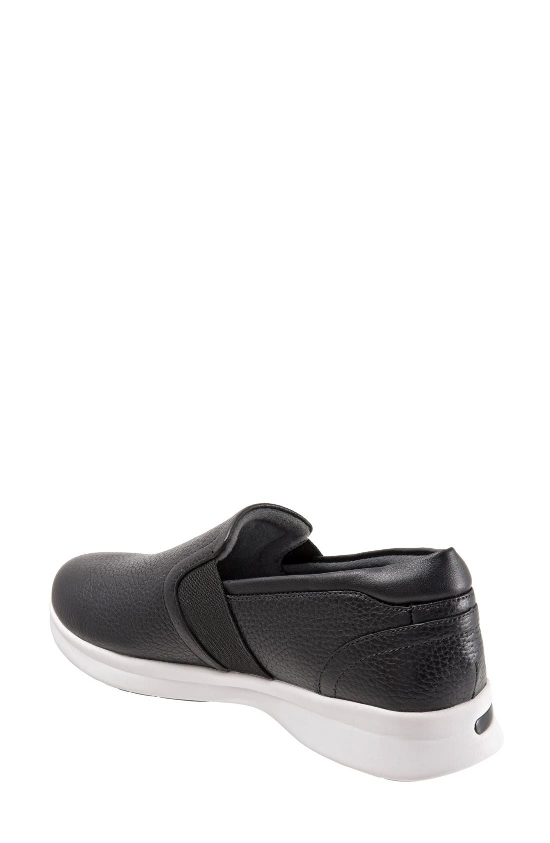 SOFTWALK<SUP>®</SUP>, 'Vantage' Slip-On Sneaker, Alternate thumbnail 2, color, BLACK / WHITE LEATHER