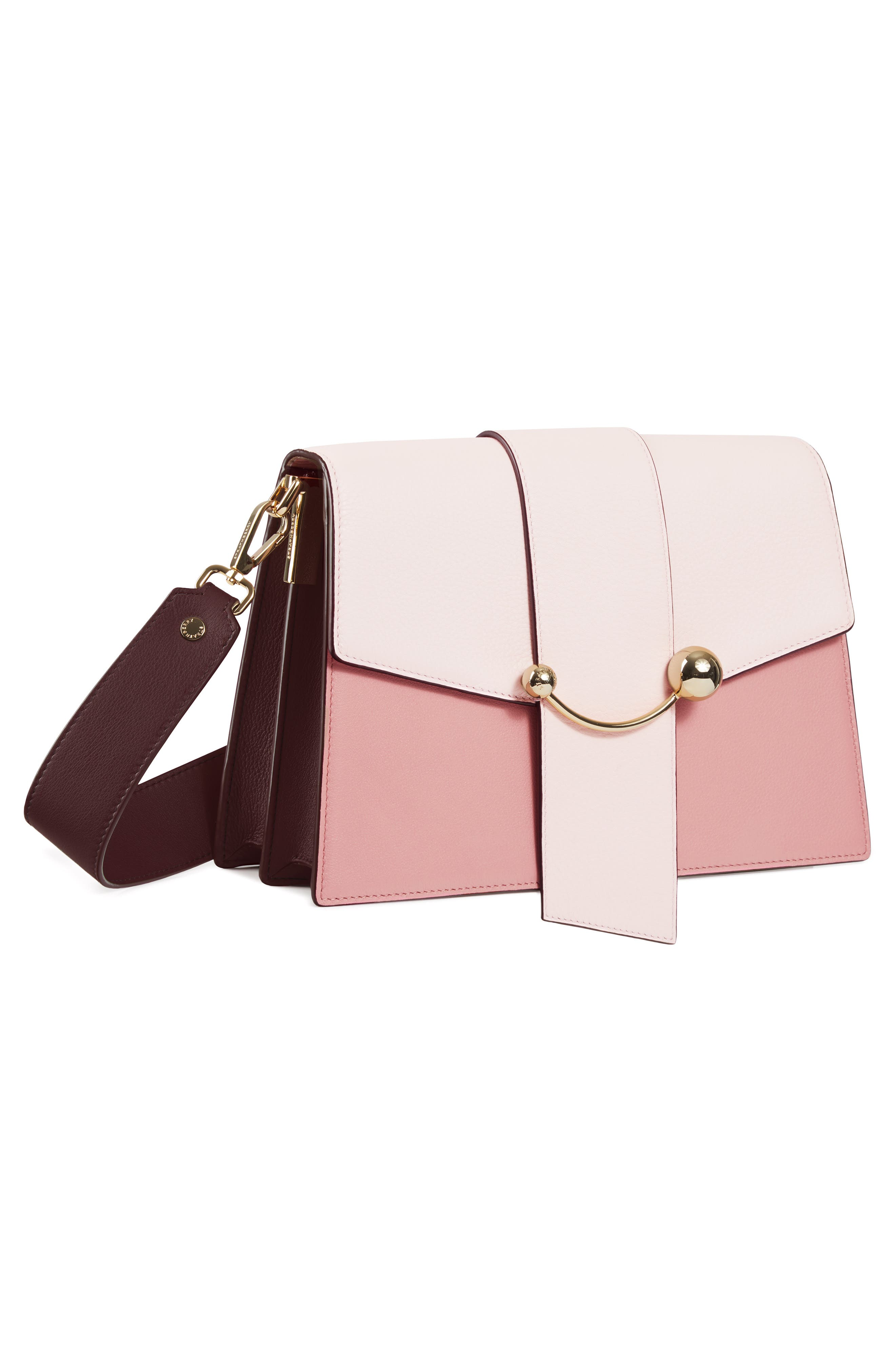 STRATHBERRY, Mini Crescent Leather Clutch, Alternate thumbnail 4, color, BABY PINK/ ROSE/ BURGUNDY