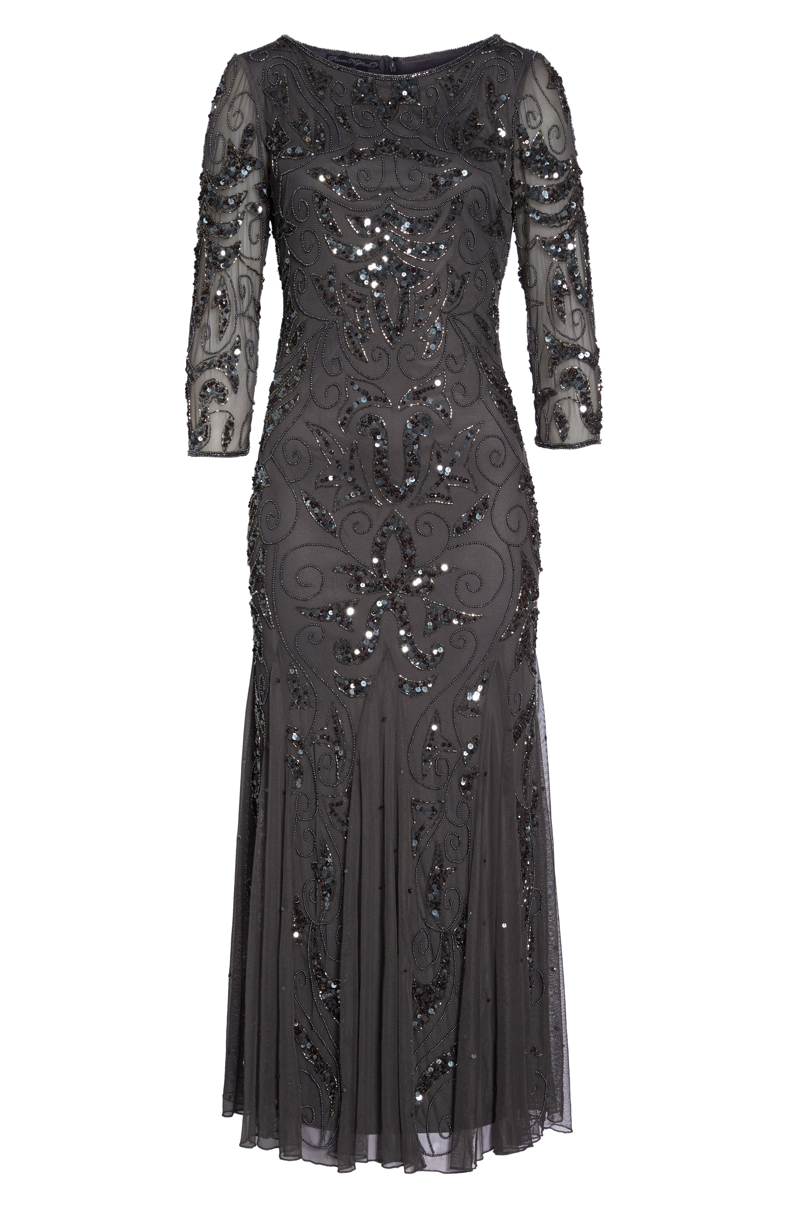 PISARRO NIGHTS, Embellished Mesh Gown, Alternate thumbnail 7, color, NEW ASH