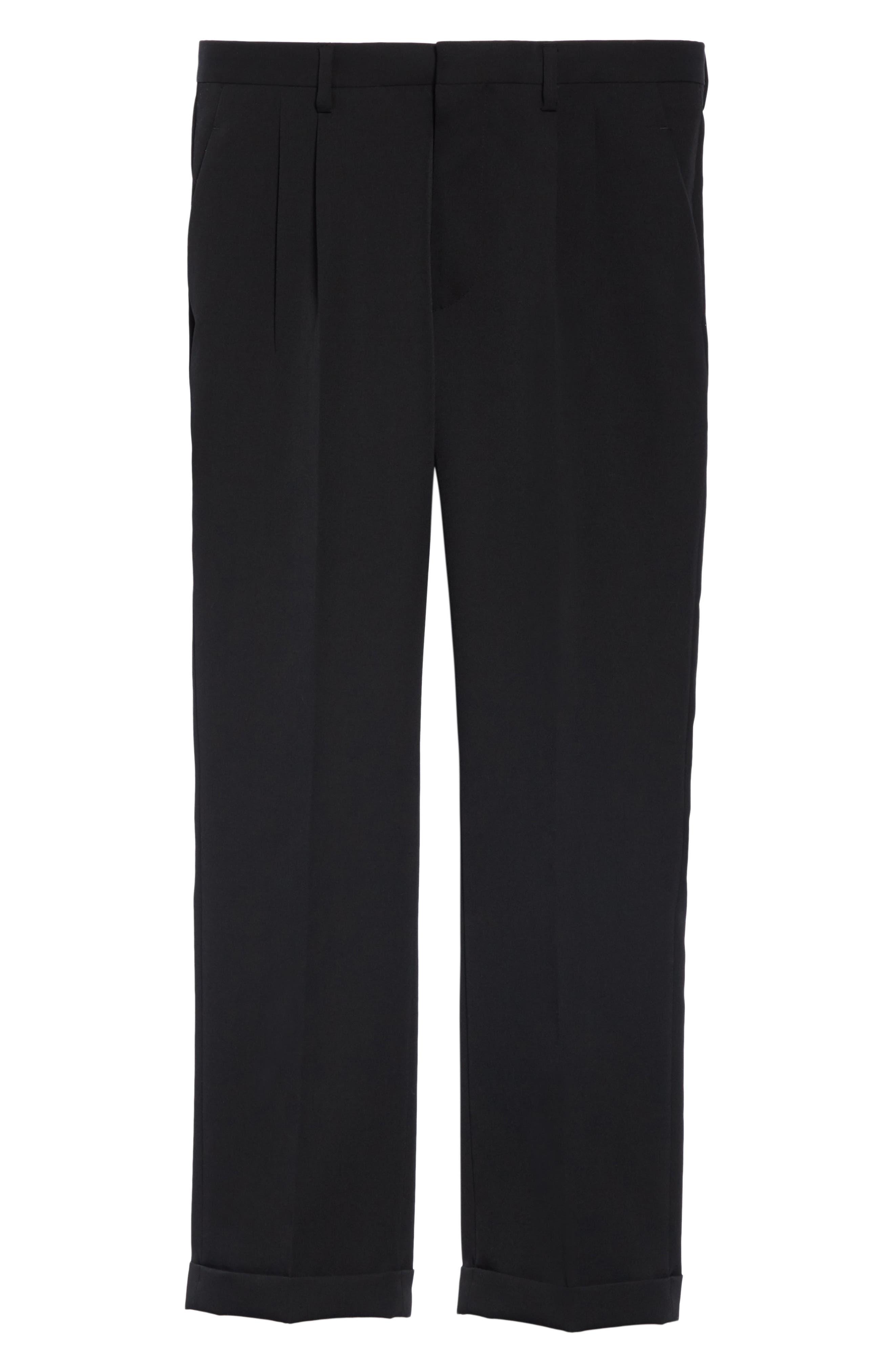 CALVIN KLEIN 205W39NYC, Pleated Gabardine Wool Trousers, Alternate thumbnail 6, color, BLACK