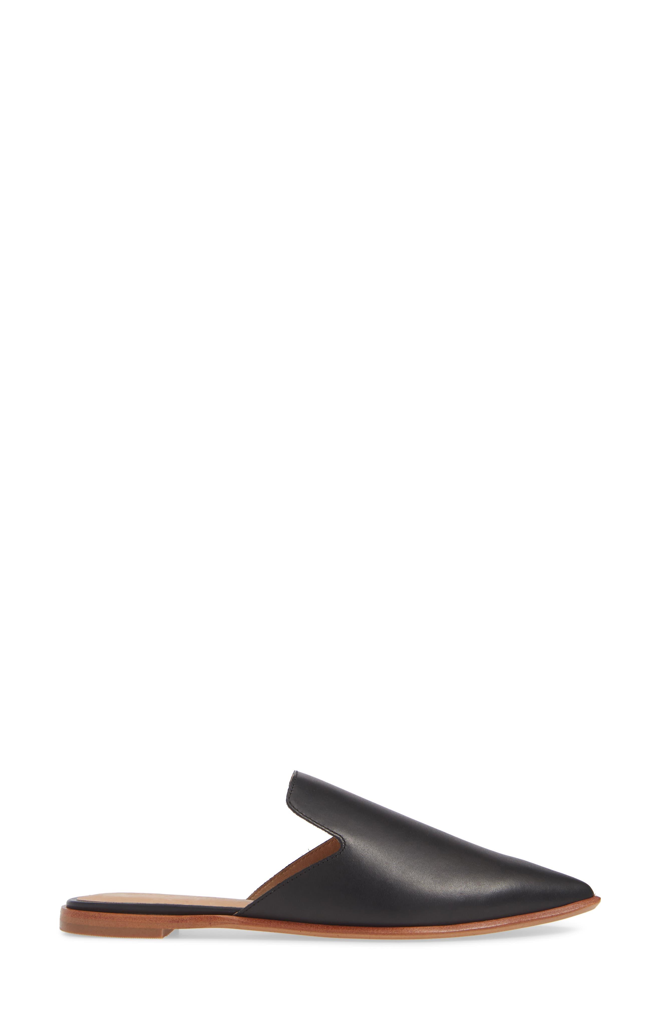 MADEWELL, The Gemma Mule, Alternate thumbnail 3, color, TRUE BLACK LEATHER
