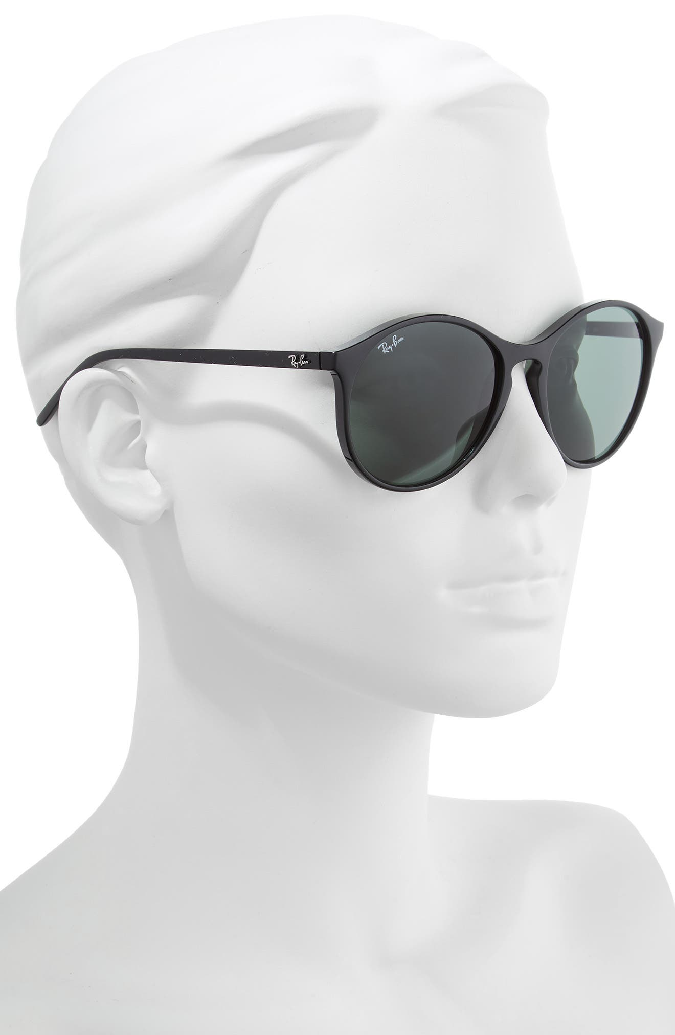 RAY-BAN, Highstreet 55mm Round Sunglasses, Alternate thumbnail 2, color, BLACK/ GREEN SOLID