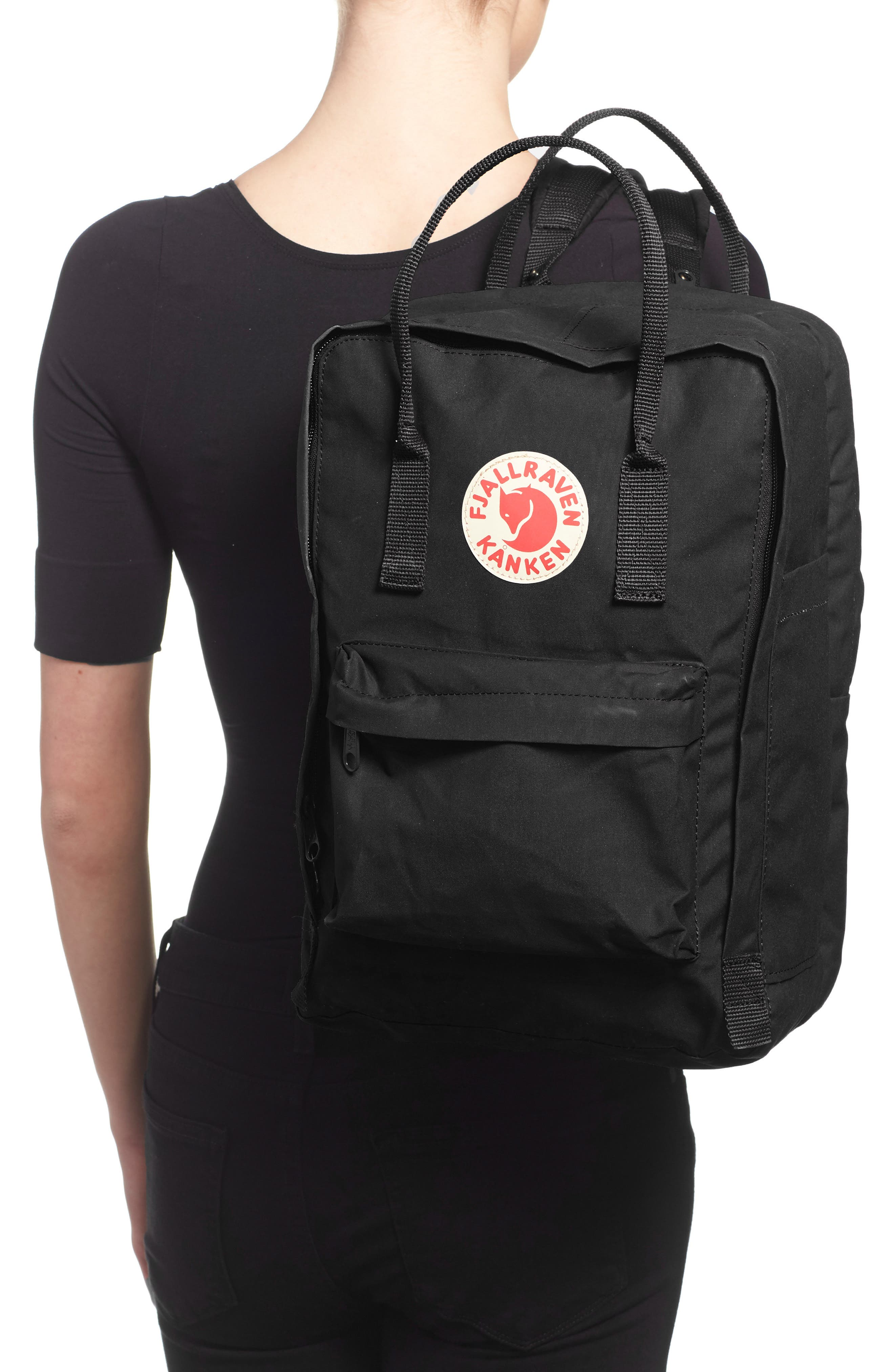 FJÄLLRÄVEN, 'Kånken' Laptop Backpack, Alternate thumbnail 7, color, BLACK