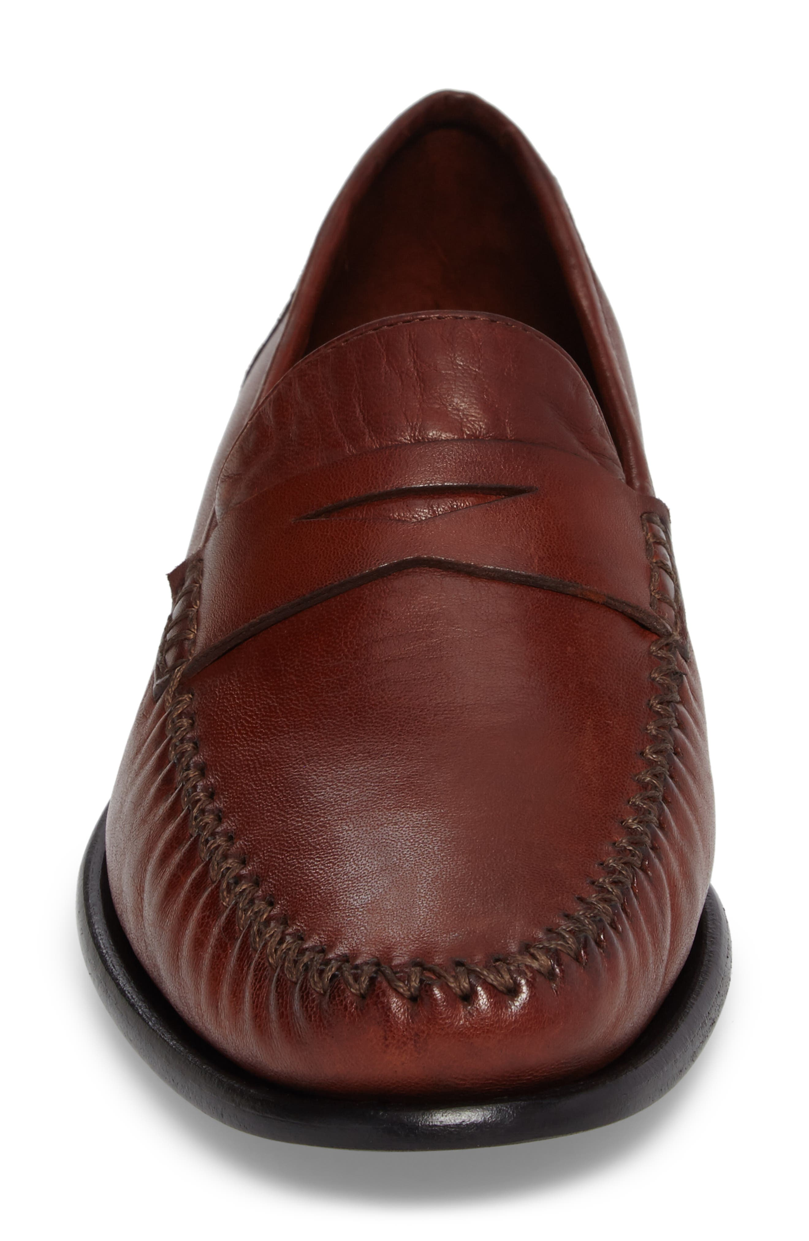 ROBERT ZUR, Penny Loafer, Alternate thumbnail 4, color, DARK LUGGAGE LEATHER