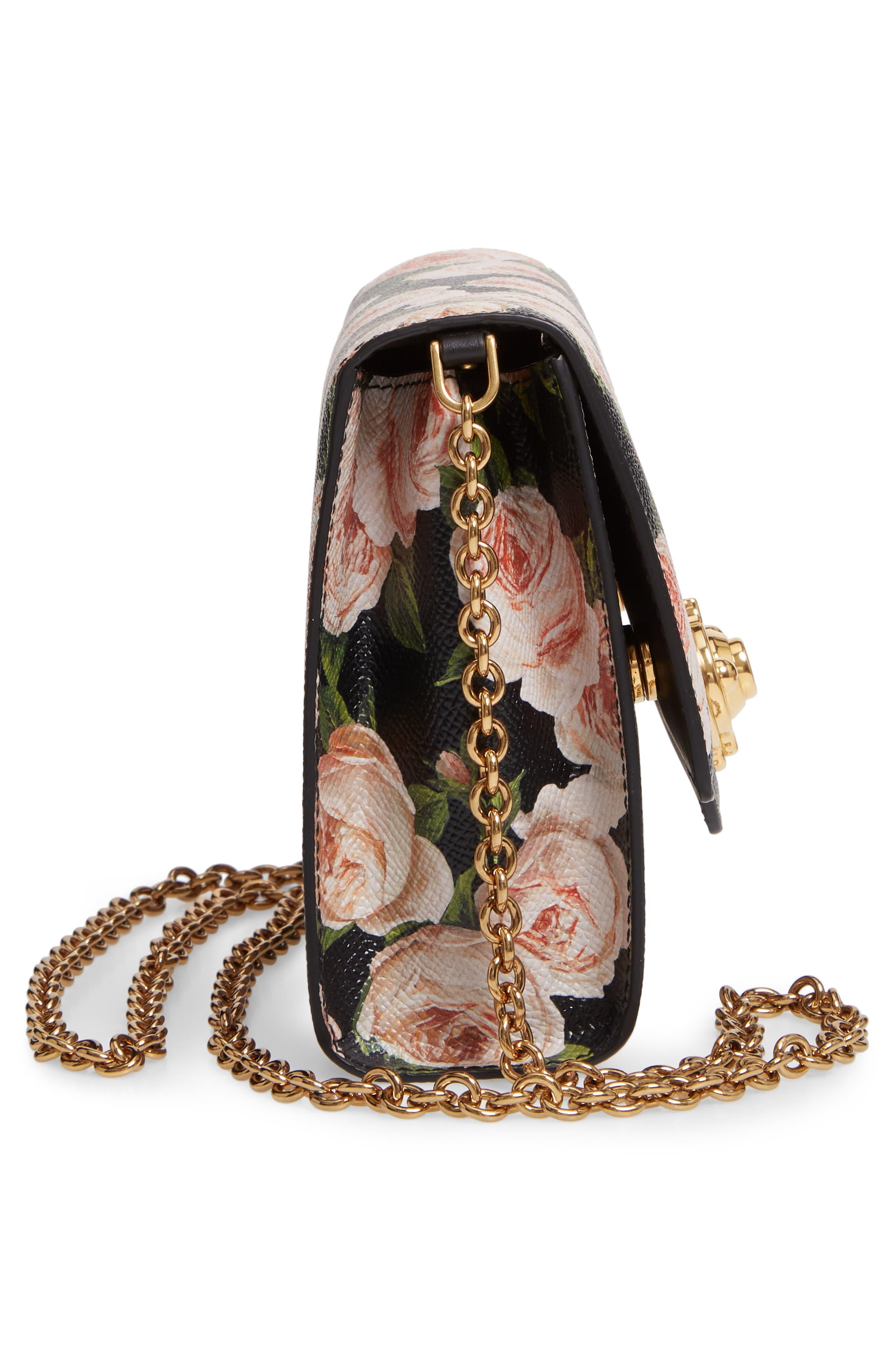 DOLCE&GABBANA, Rose Print Calfskin Leather Shoulder Bag, Alternate thumbnail 5, color, NERO/ ROSE