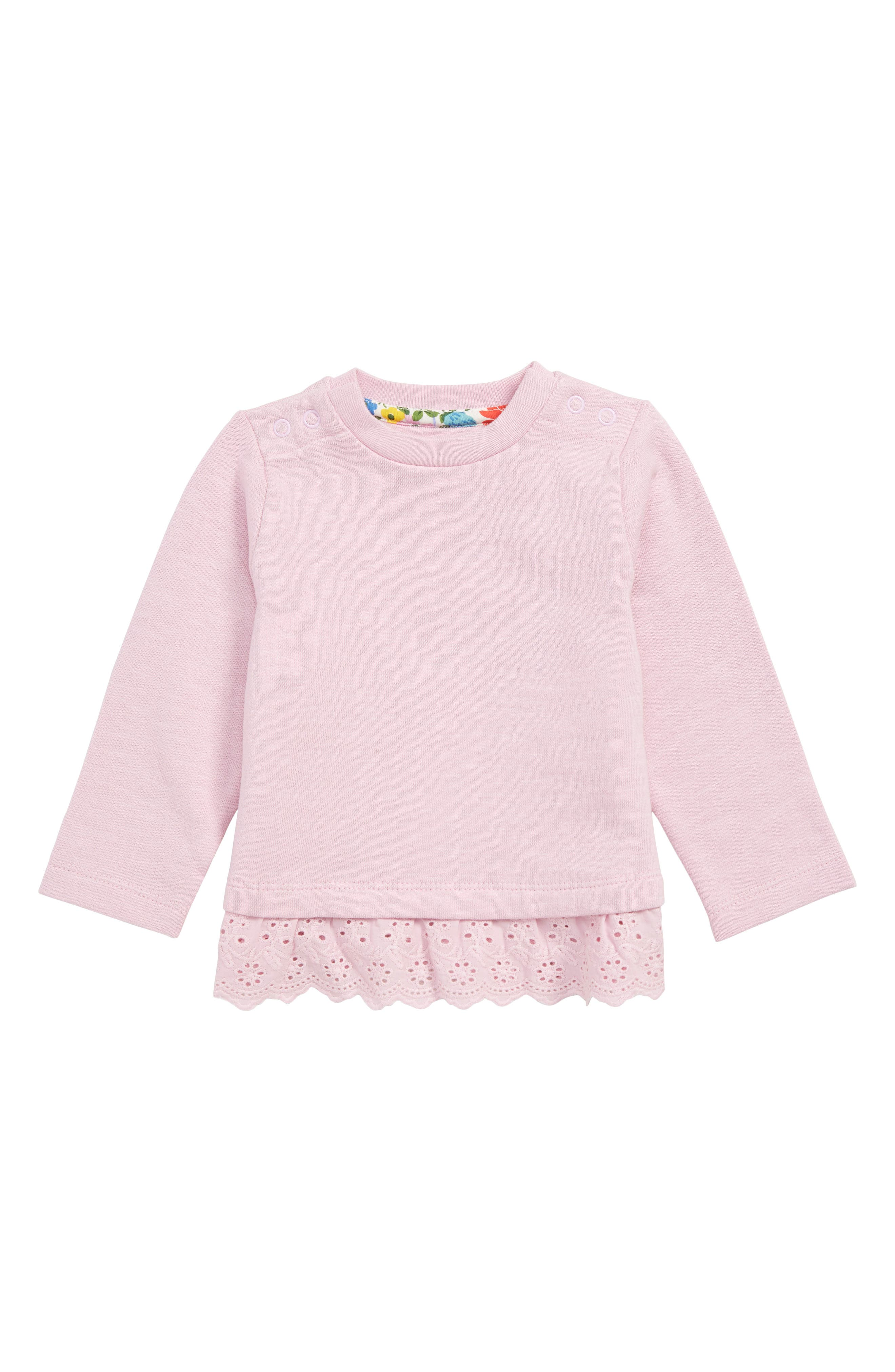 MINI BODEN Frilly Broderie Sweatshirt, Main, color, 664