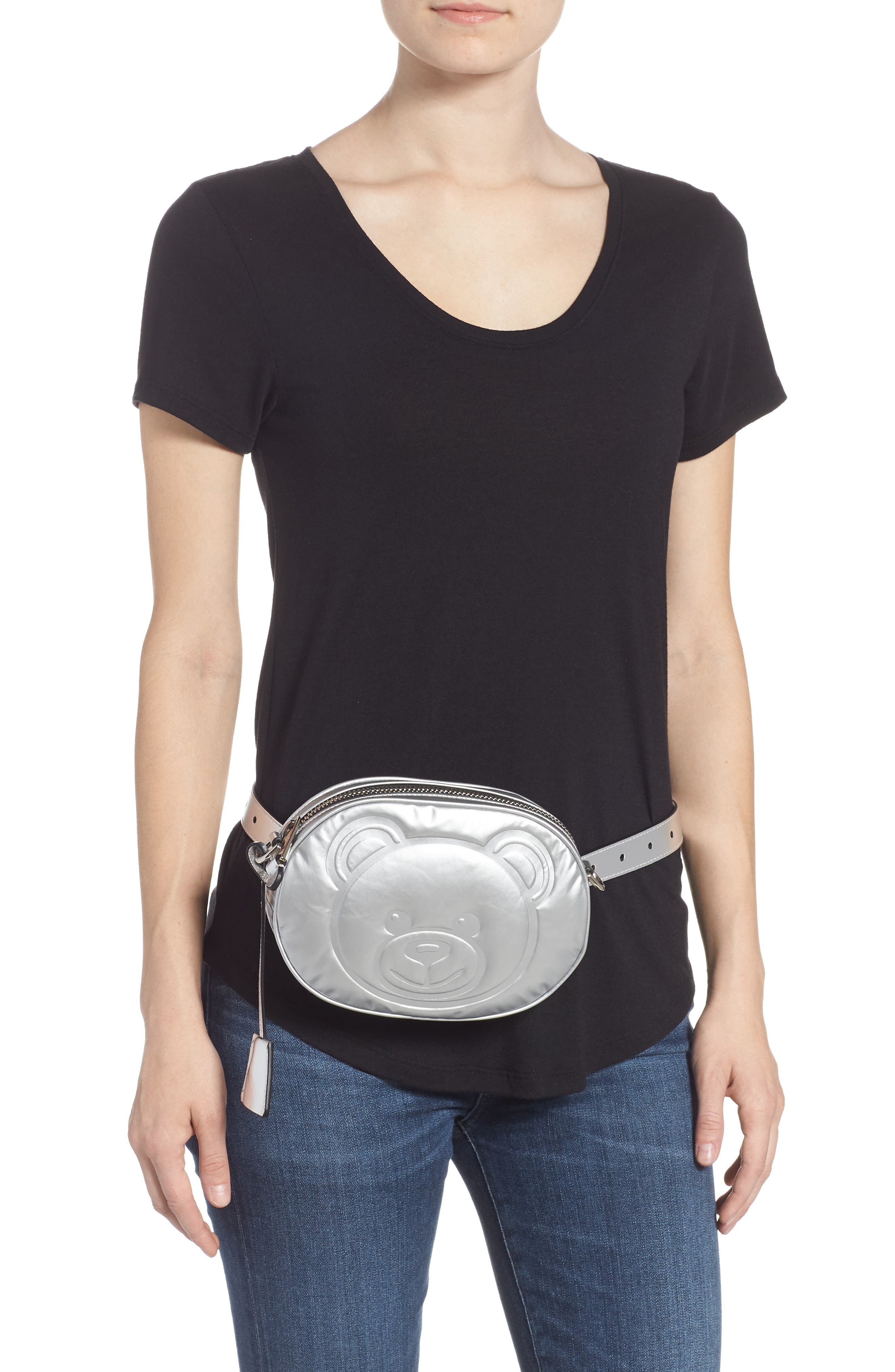 MOSCHINO, Silver Teddy Belt Bag, Alternate thumbnail 2, color, SILVER