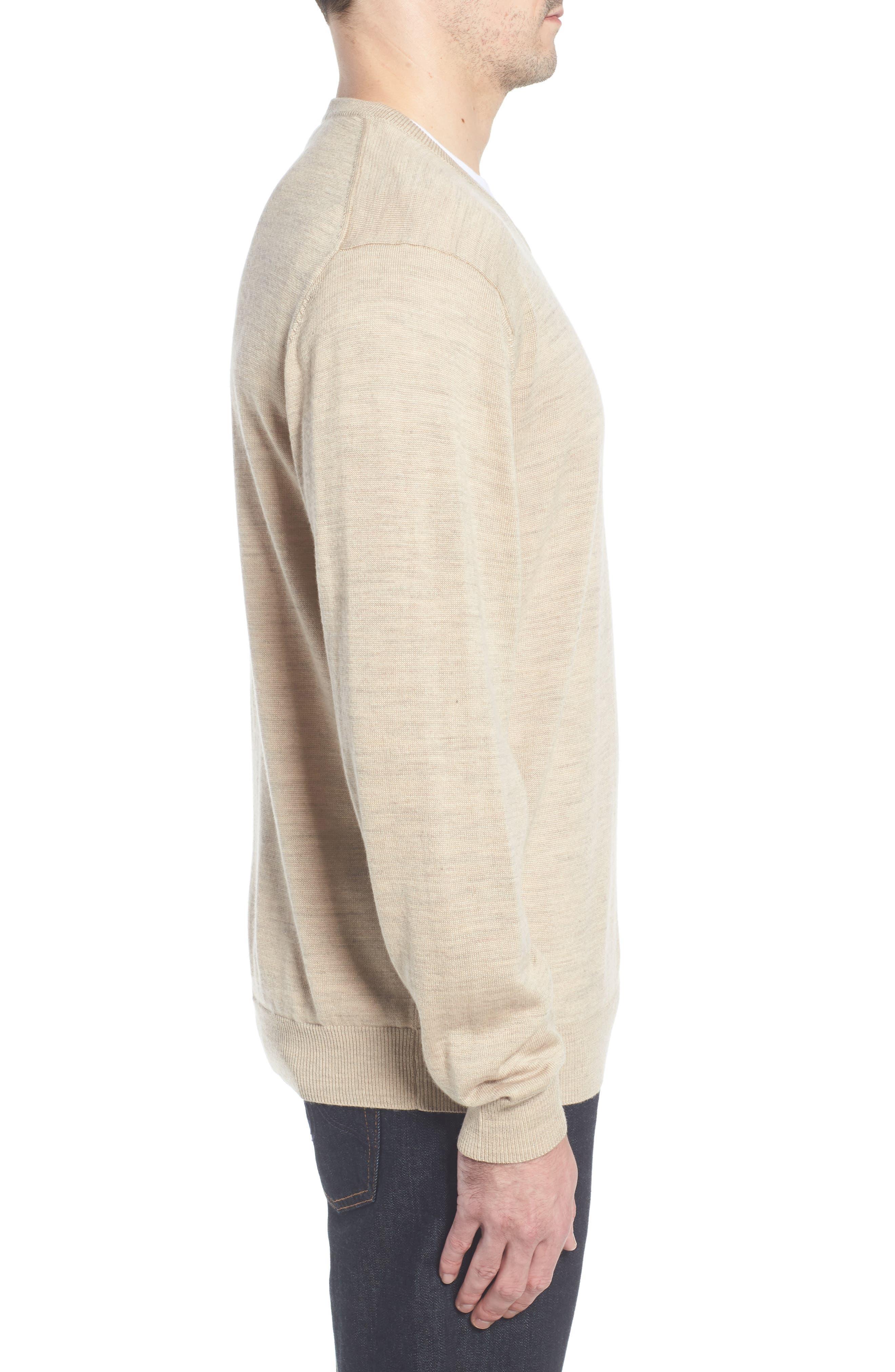 CUTTER & BUCK, 'Douglas' Merino Wool Blend V-Neck Sweater, Alternate thumbnail 3, color, SAND HEATHER