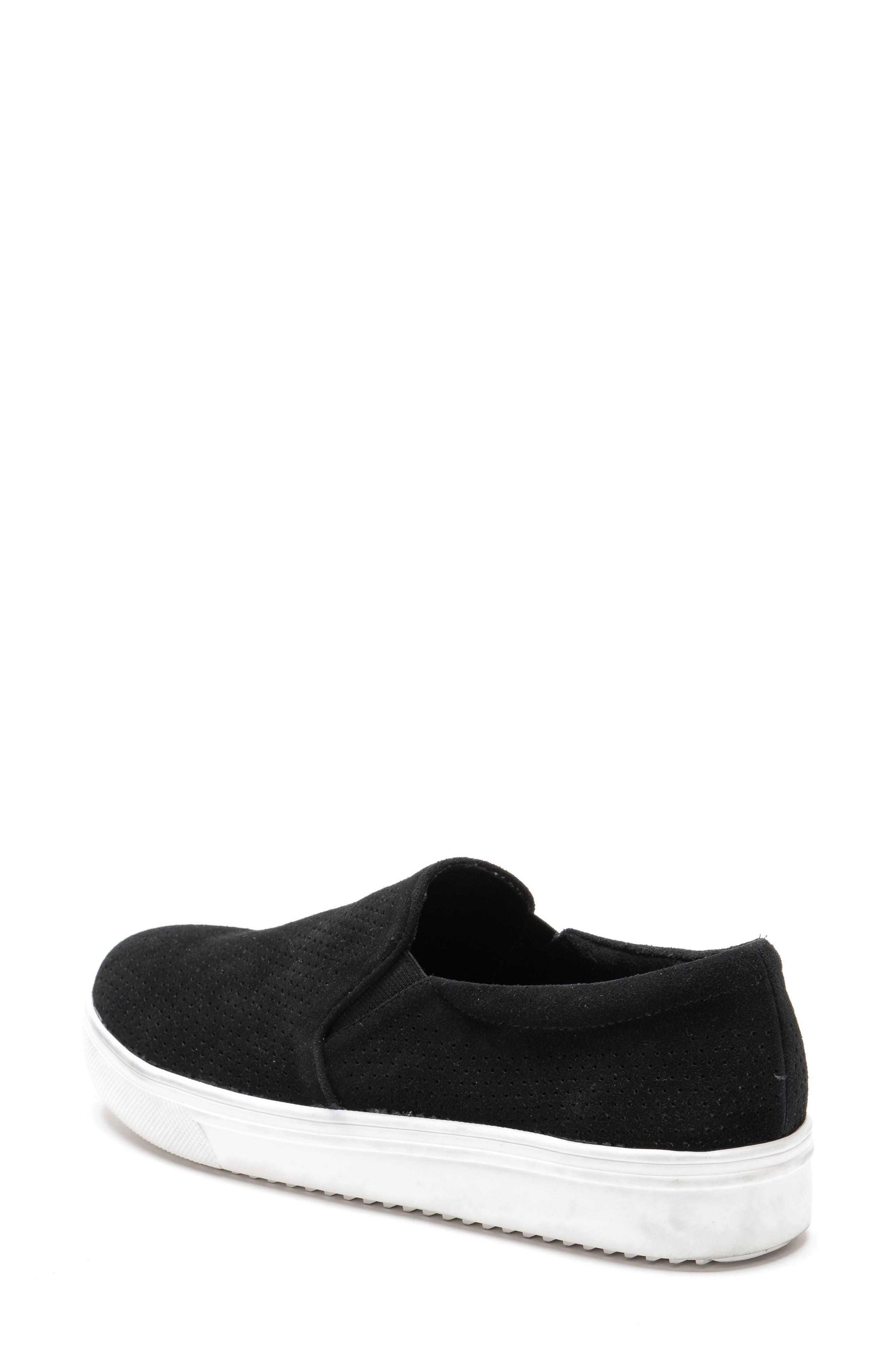 BLONDO, Gallert Perforated Waterproof Platform Sneaker, Alternate thumbnail 7, color, BLACK SUEDE