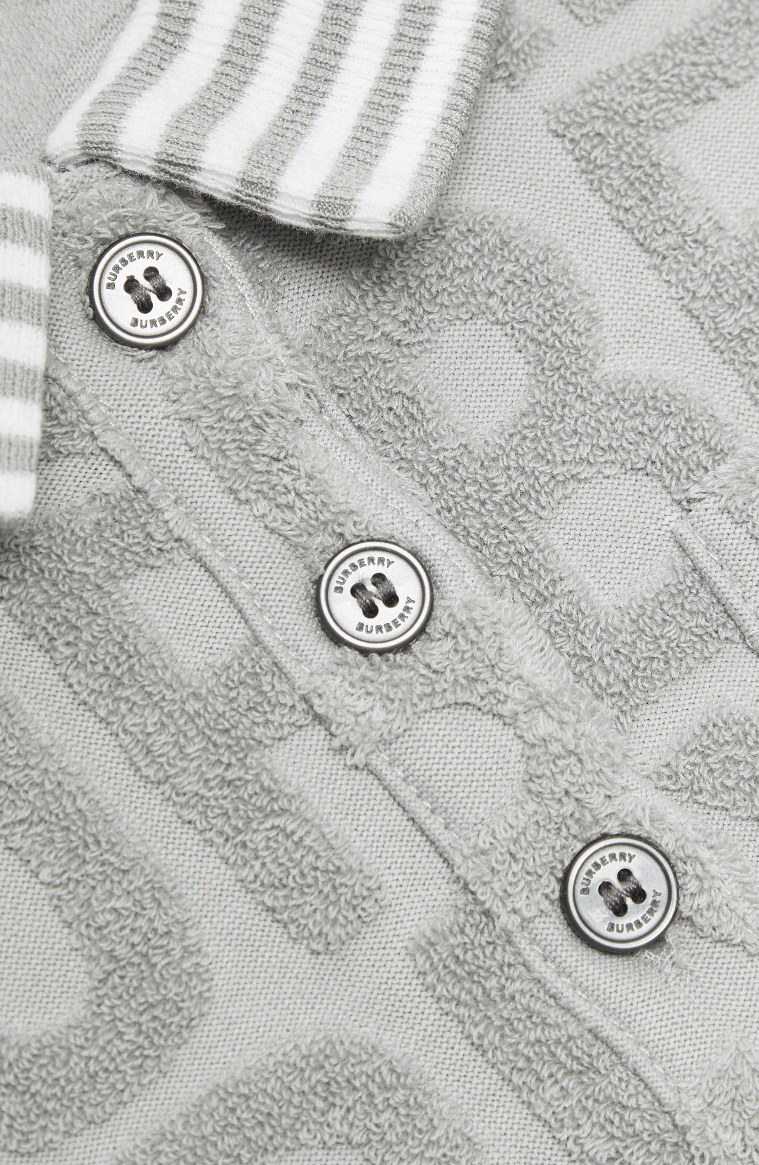 BURBERRY, Brigitta Knit Polo Dress, Alternate thumbnail 3, color, PALE GREY