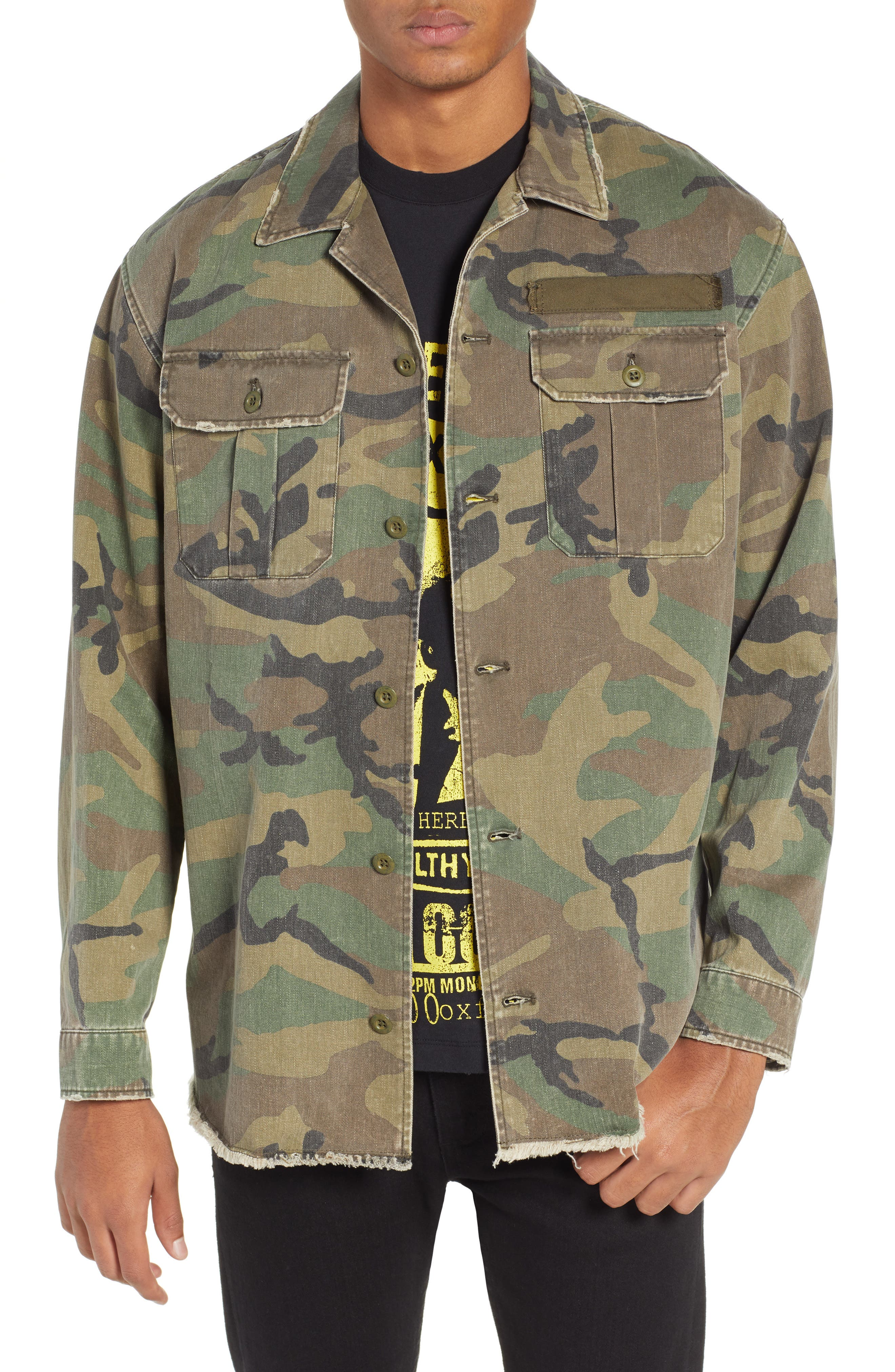 THE KOOPLES, Camou Classic Fit Twill Shirt Jacket, Main thumbnail 1, color, CAMOUFLAGE
