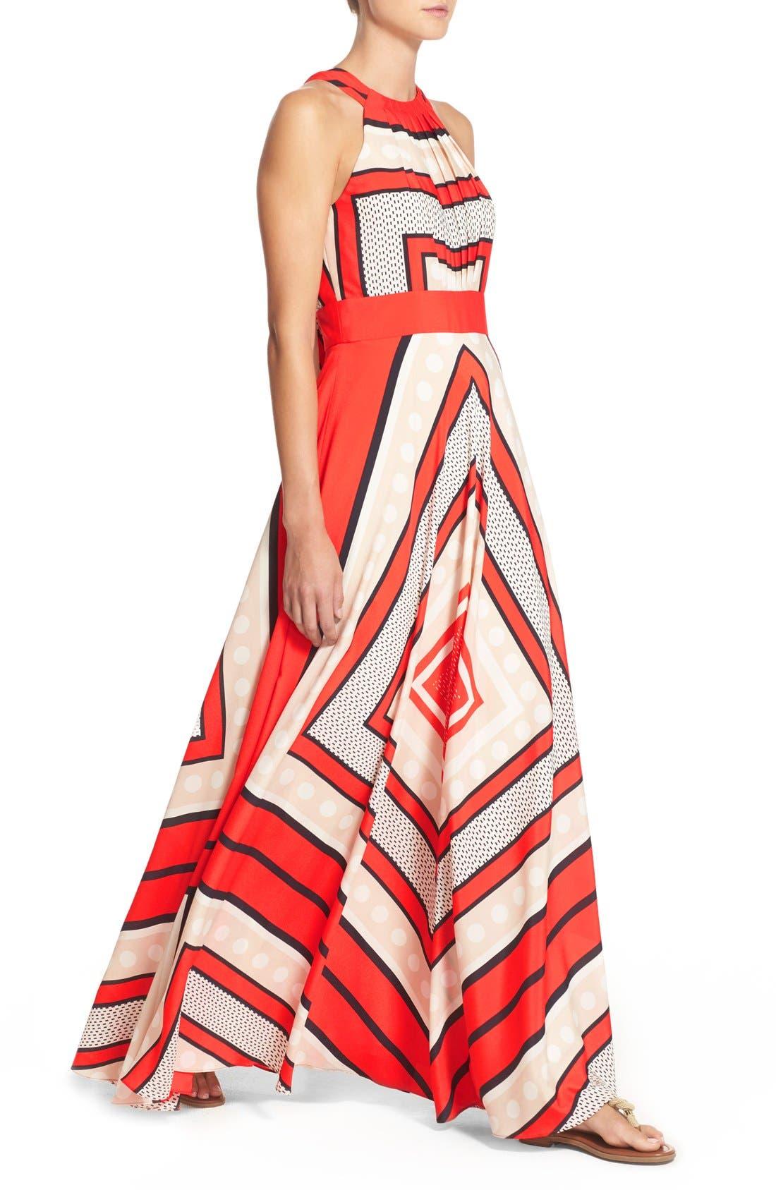 ELIZA J, Scarf Print Crêpe de Chine Fit & Flare Maxi Dress, Alternate thumbnail 12, color, MULTI