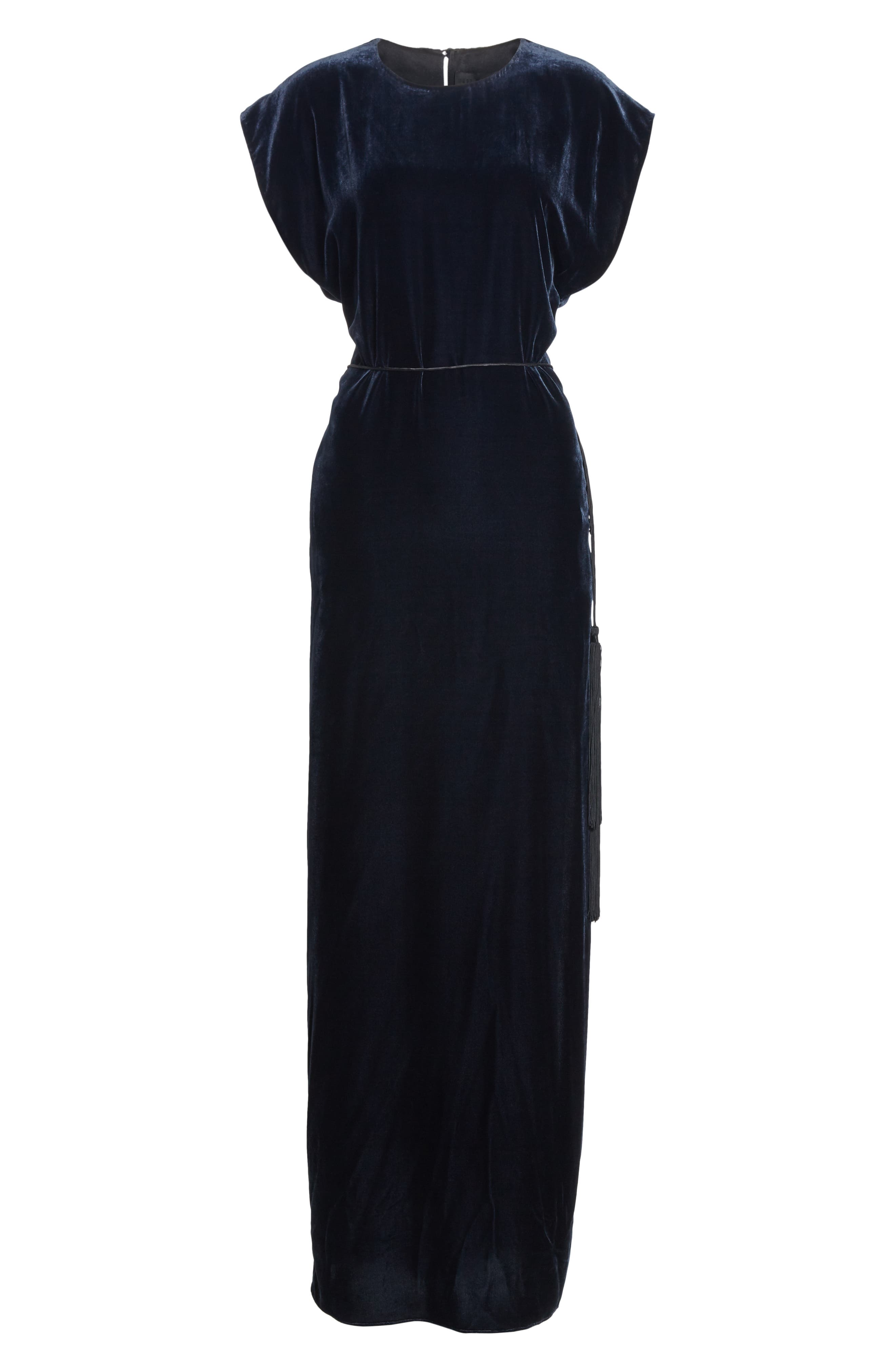 NILI LOTAN, Lillian Velvet Dress, Alternate thumbnail 6, color, DARK NAVY