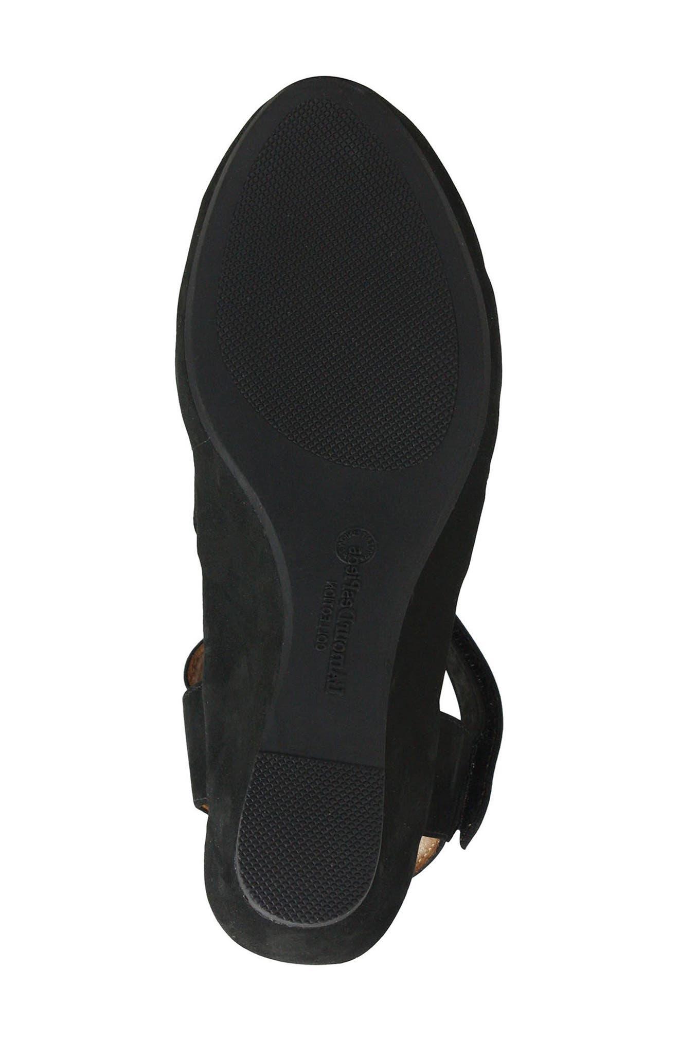 L'AMOUR DES PIEDS, Burcie Wedge Sandal, Alternate thumbnail 6, color, BLACK NUBUCK LEATHER