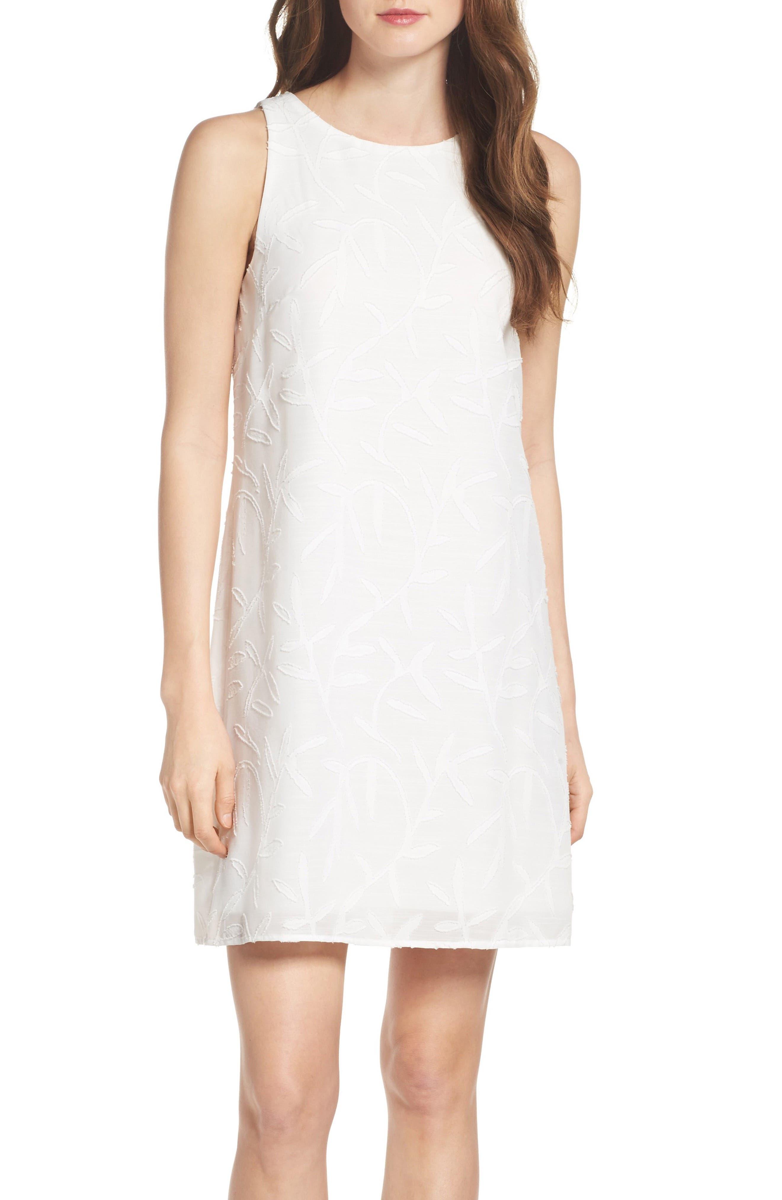 BETSEY JOHNSON Clipped Jacquard Shift Dress, Main, color, 900