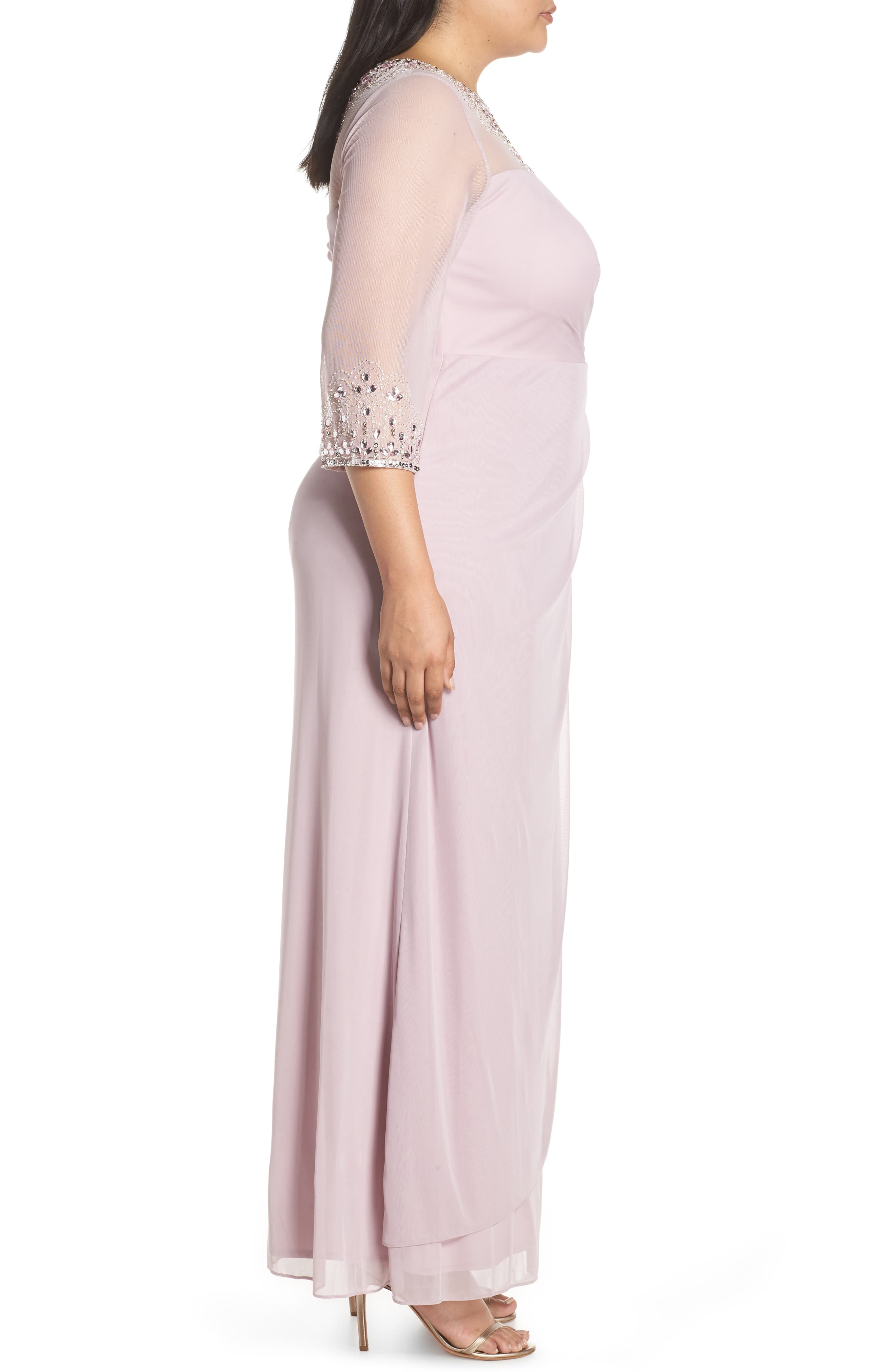 ALEX EVENINGS, Beaded Illusion Neck A-Line Gown, Alternate thumbnail 4, color, SMOKEY ORCHID