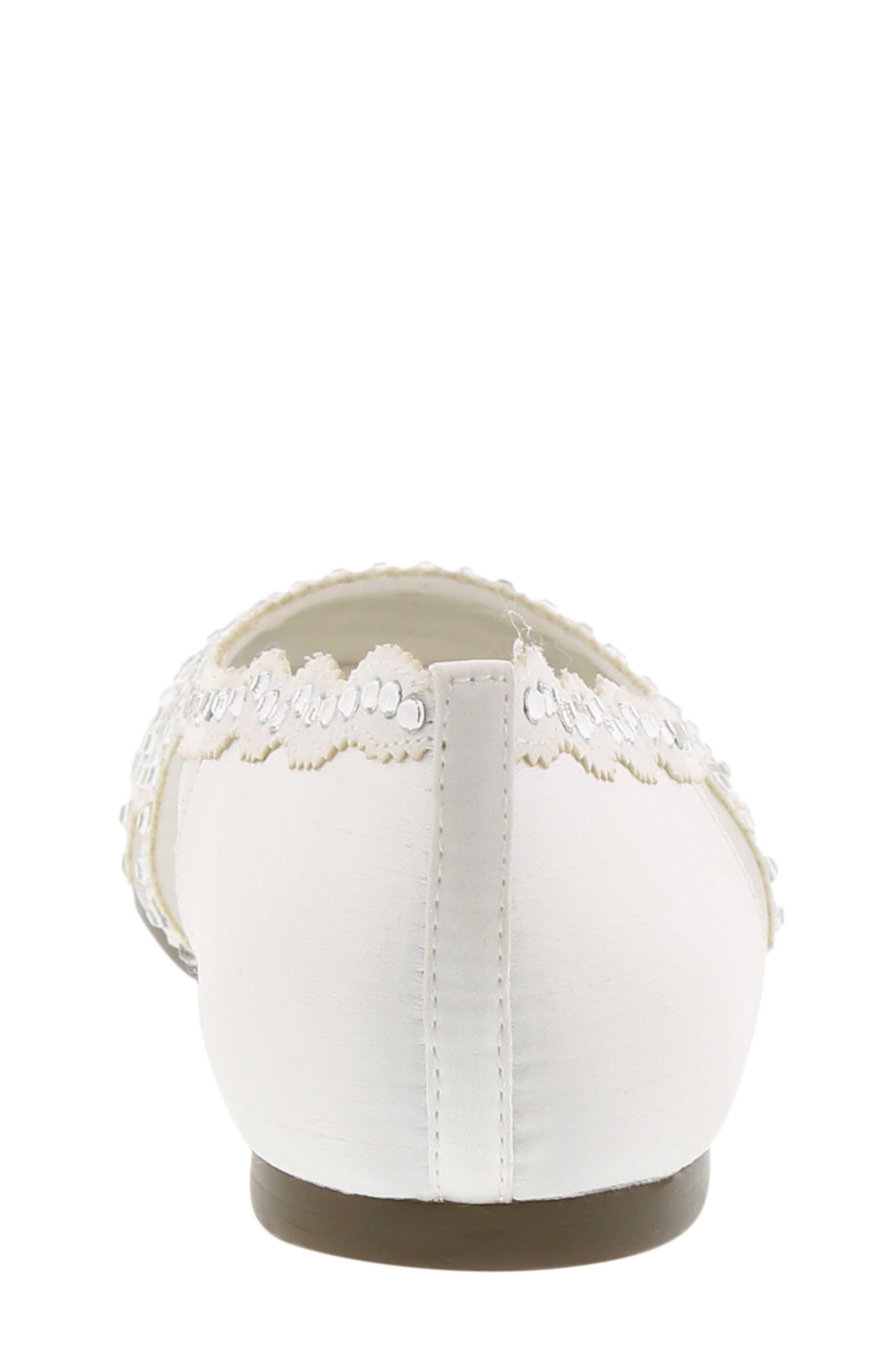 BADGLEY MISCHKA COLLECTION, Badgley Mischka Gigi Embellished Flat, Alternate thumbnail 5, color, WHITE