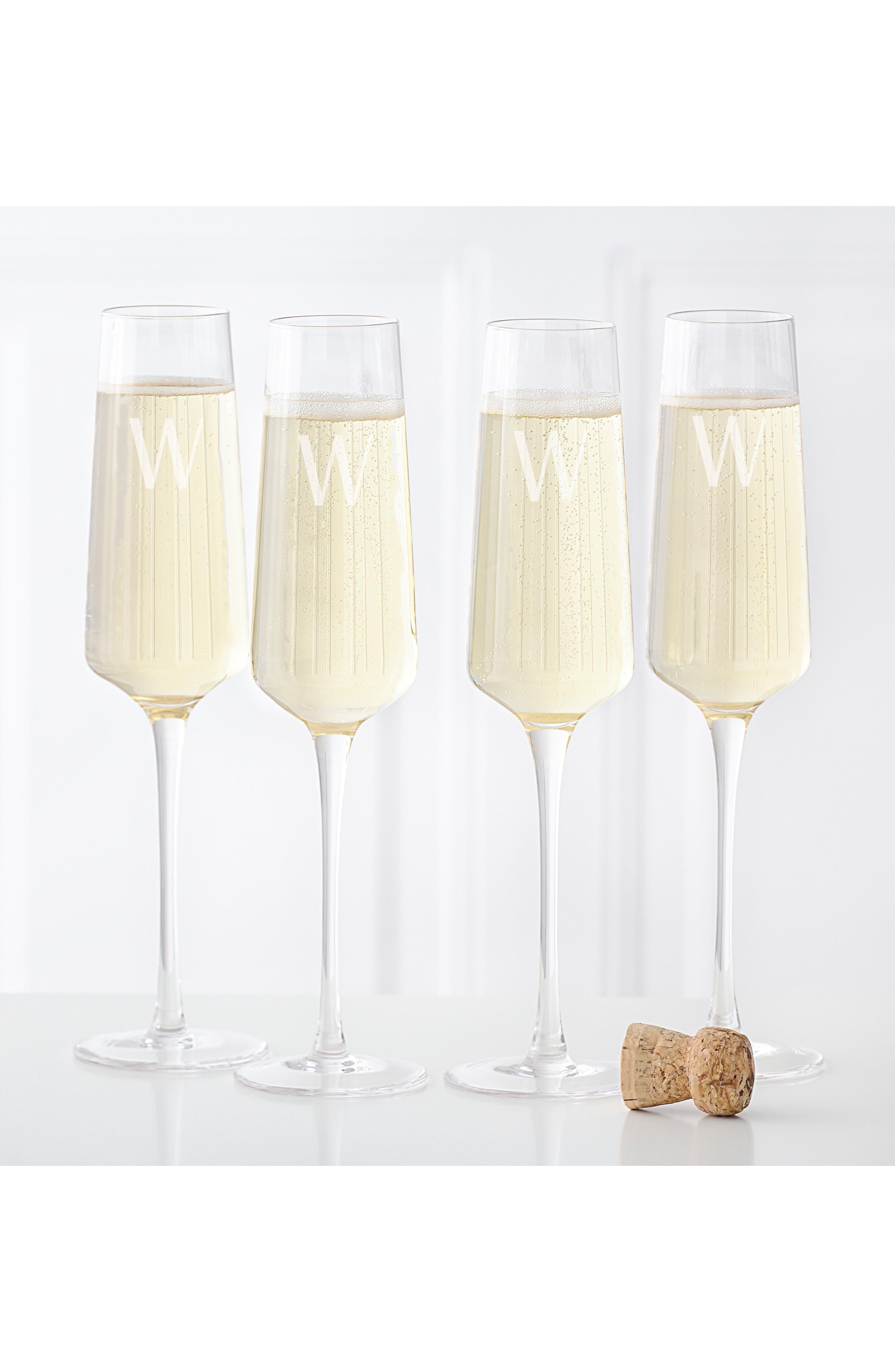 CATHY'S CONCEPTS, Estate Collection Set of 4 Monogram Champagne Flutes, Alternate thumbnail 2, color, A