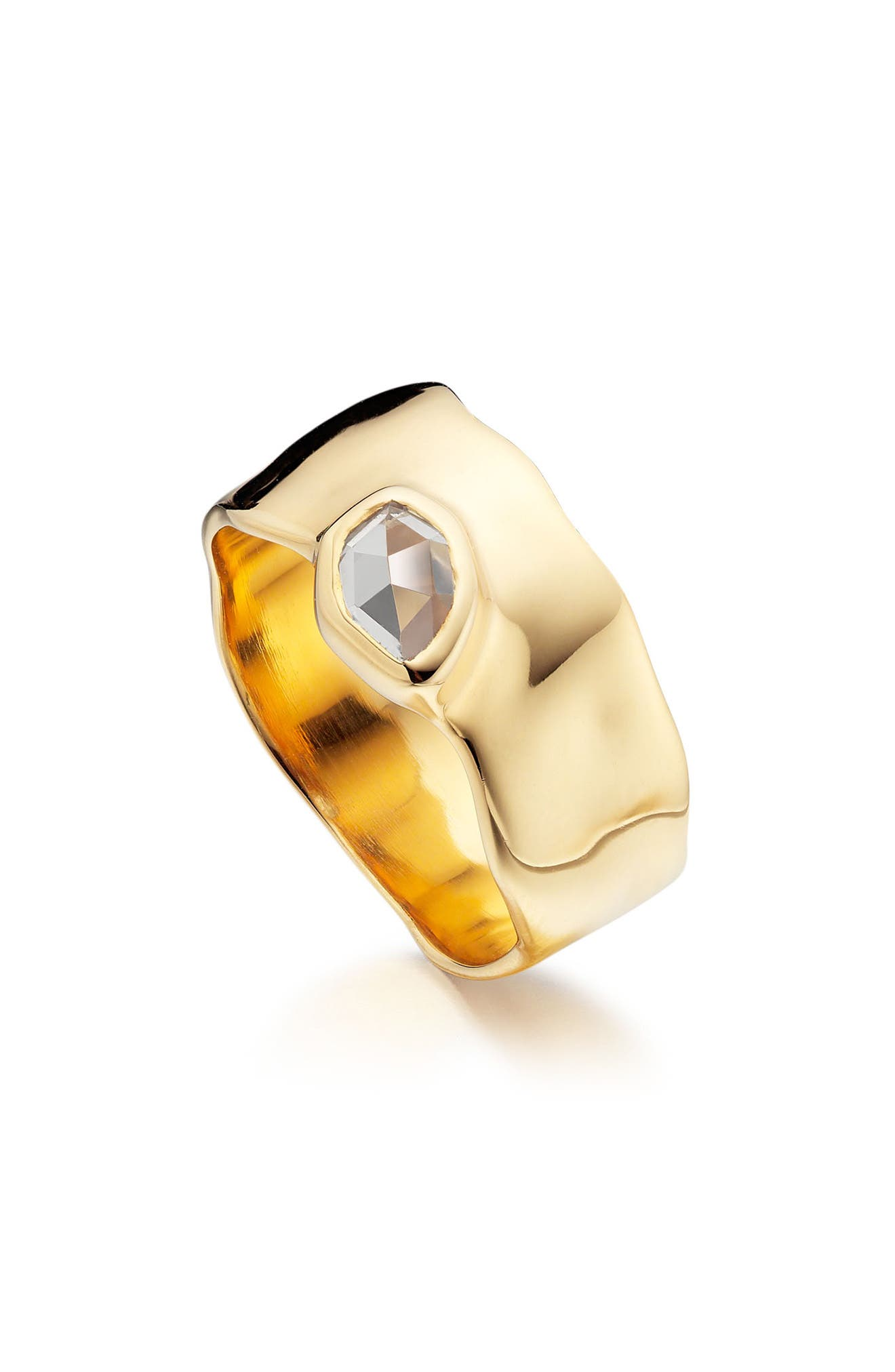MONICA VINADER, 'Siren' Wide Band Ring, Main thumbnail 1, color, WHITE TOPAZ/ YELLOW GOLD
