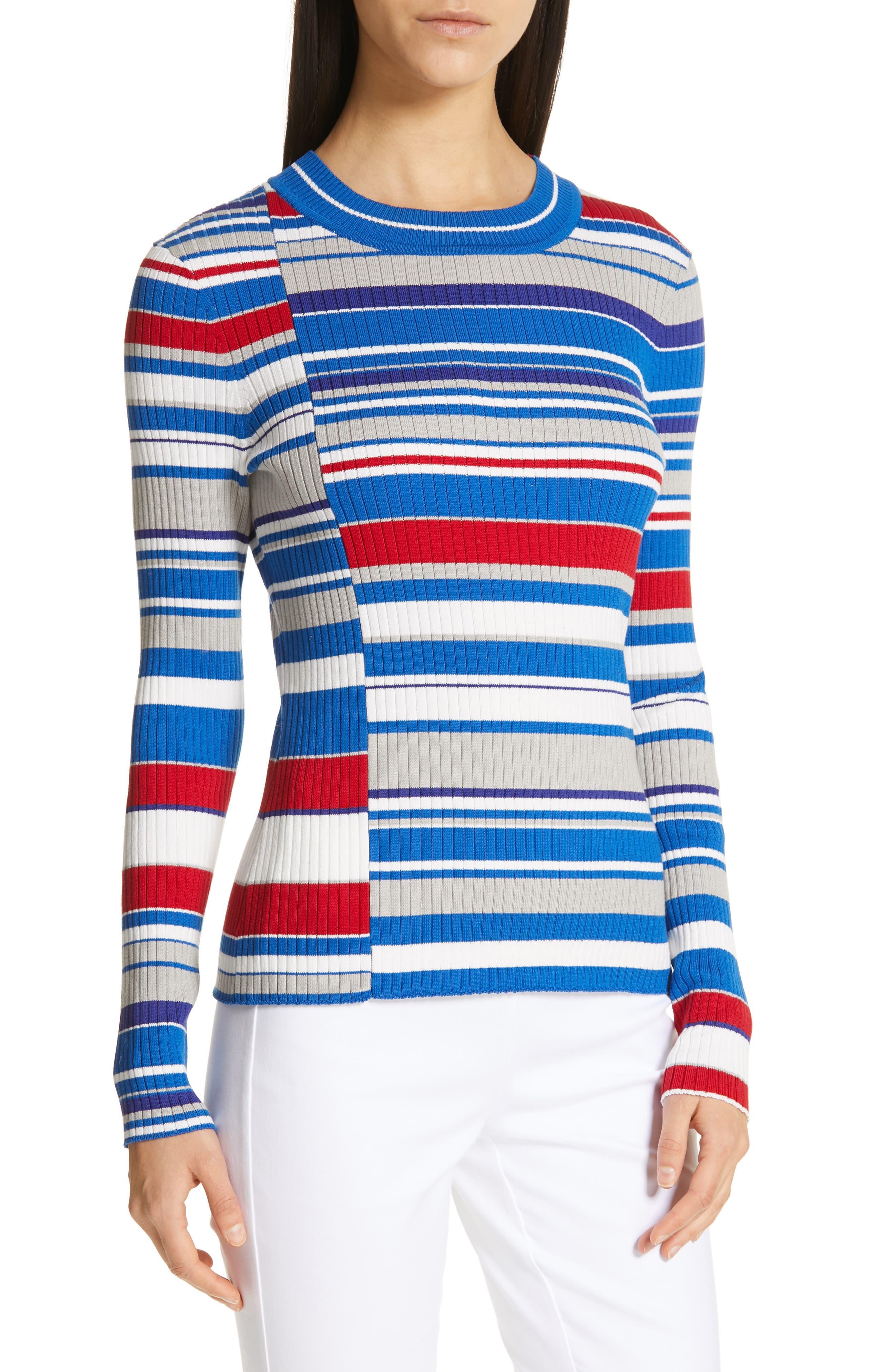 RAG & BONE Mason Stripe Top, Main, color, BLU