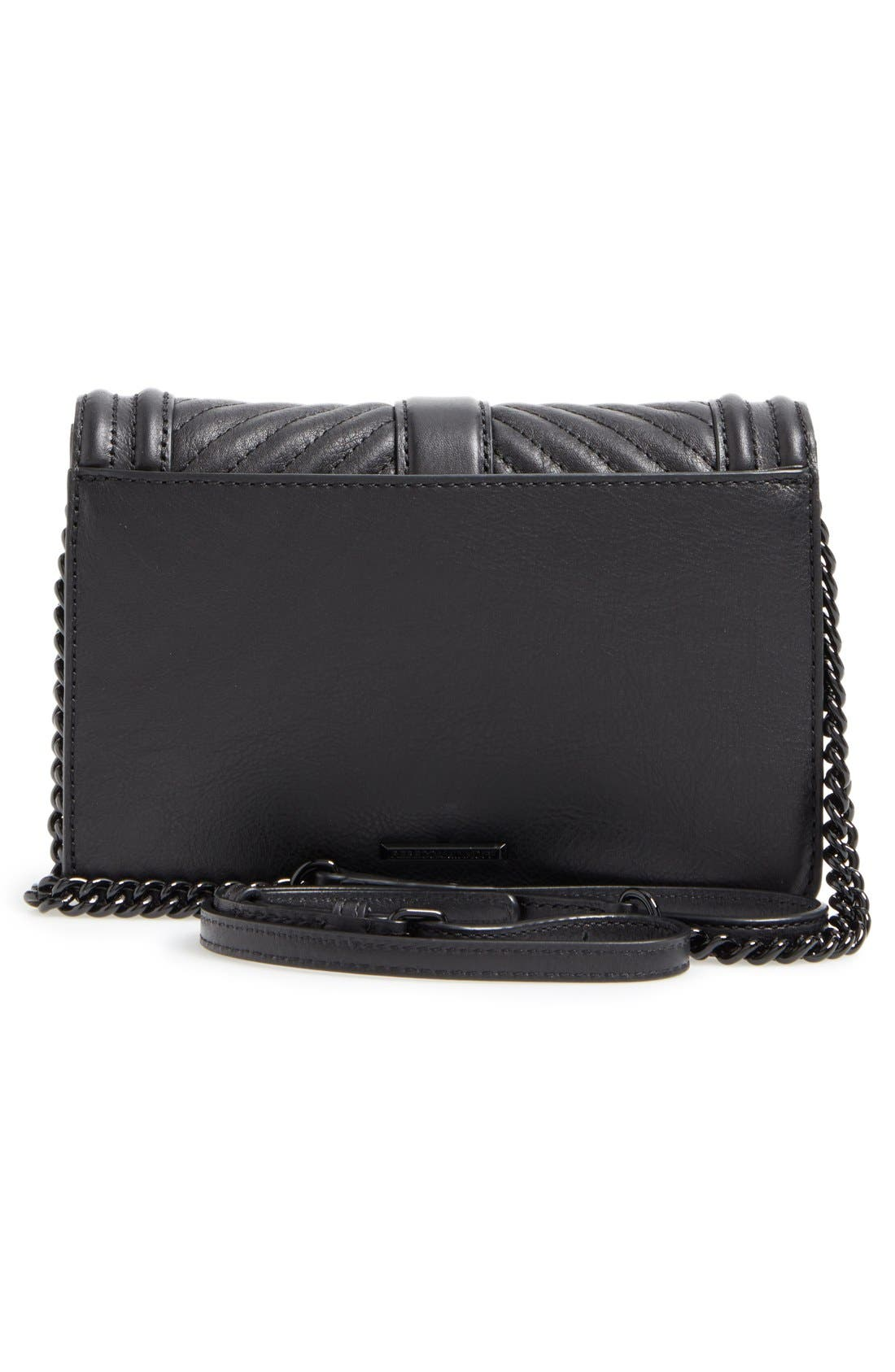 REBECCA MINKOFF, Small Love Leather Crossbody Bag, Alternate thumbnail 6, color, BLACK/ BLACK HRDWR