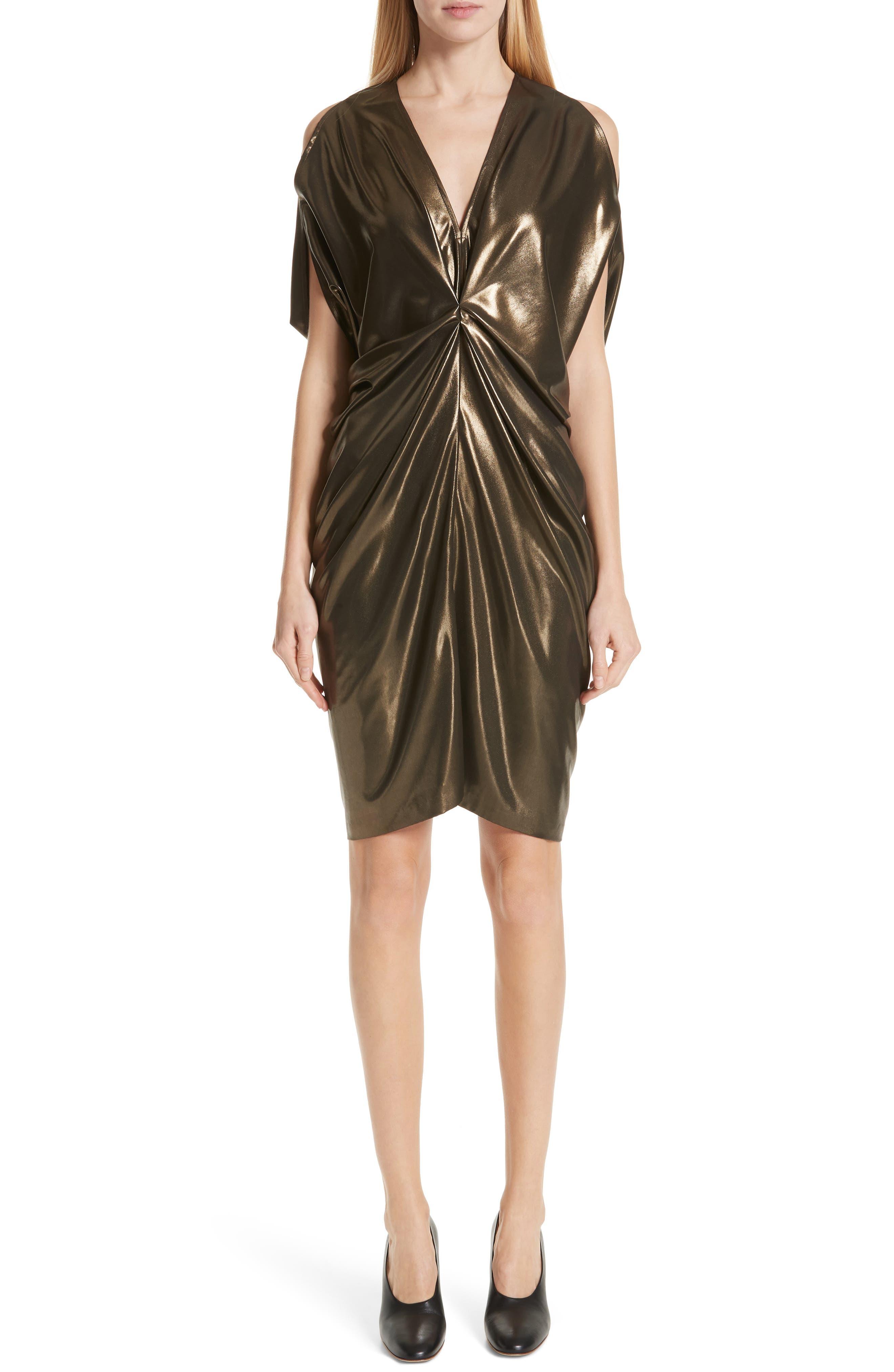 Zero + Maria Cornejo Gathered Metallic Dress